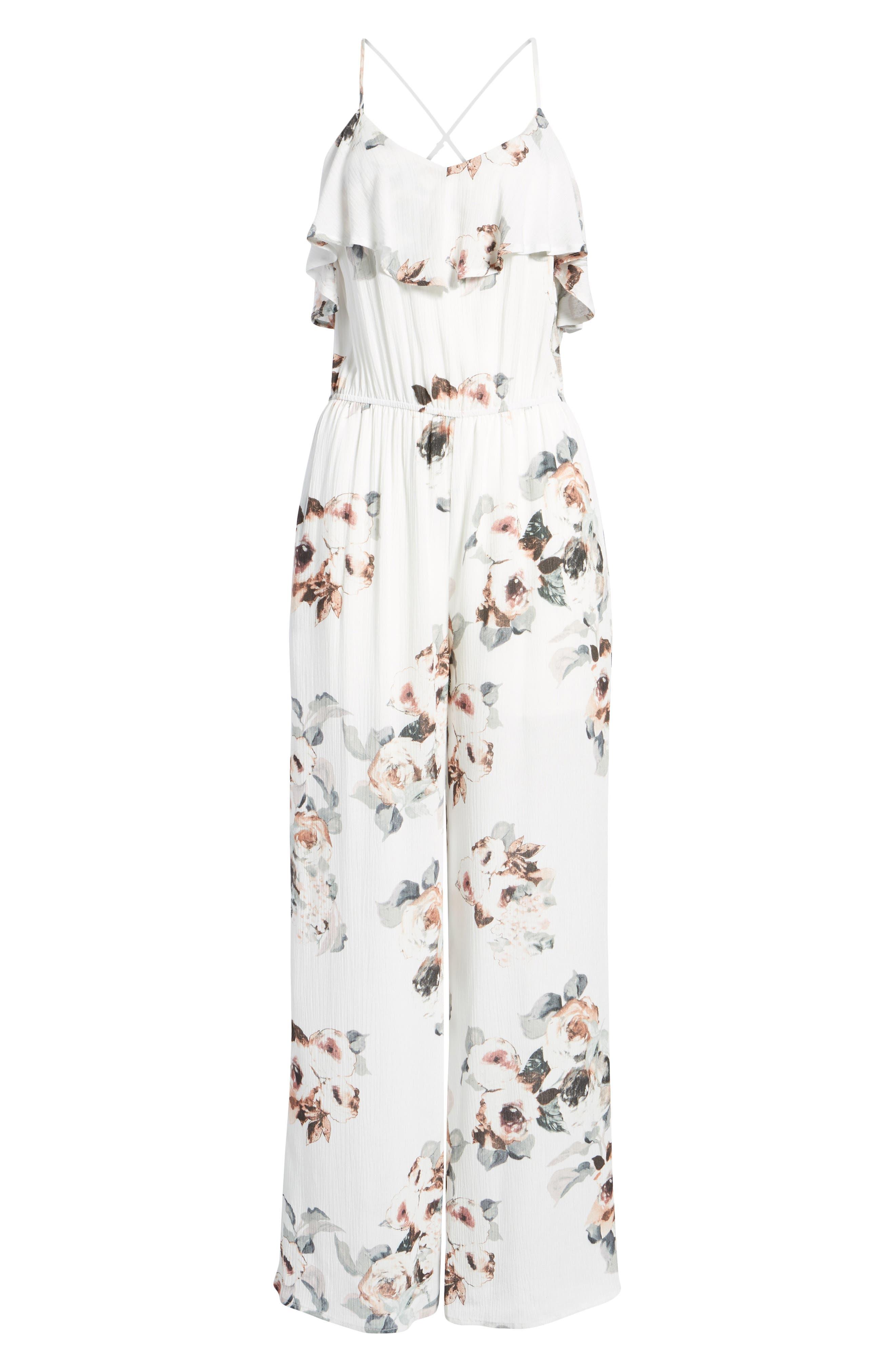 Floral Print Jumpsuit,                             Alternate thumbnail 8, color,                             White Floral