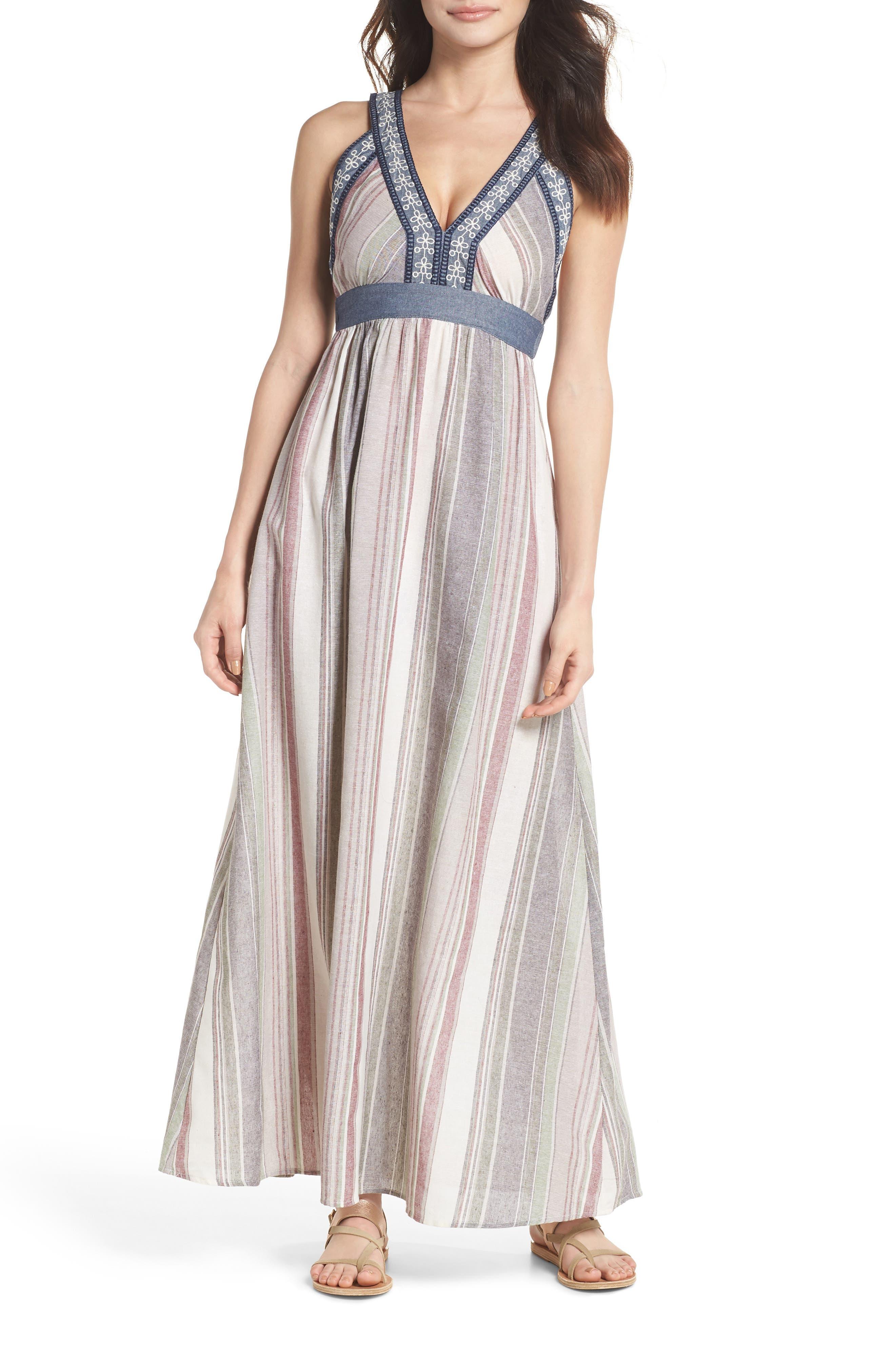 Stripe Maxi Dress,                         Main,                         color, Cream