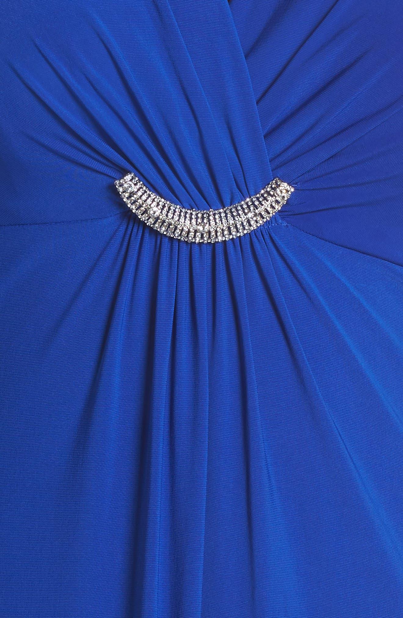 Embellished Surplice Dress,                             Alternate thumbnail 4, color,                             Cobalt