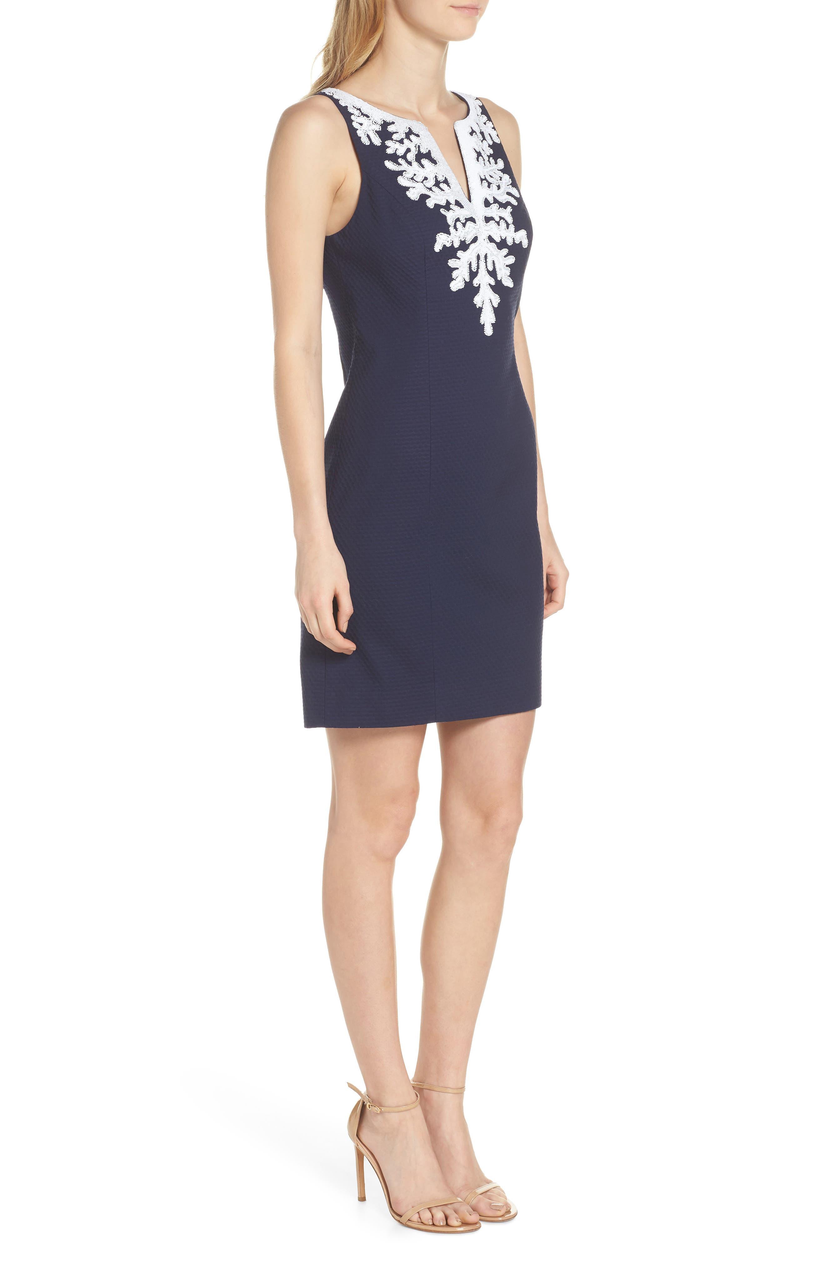 Gabby Sheath Dress,                             Alternate thumbnail 3, color,                             True Navy