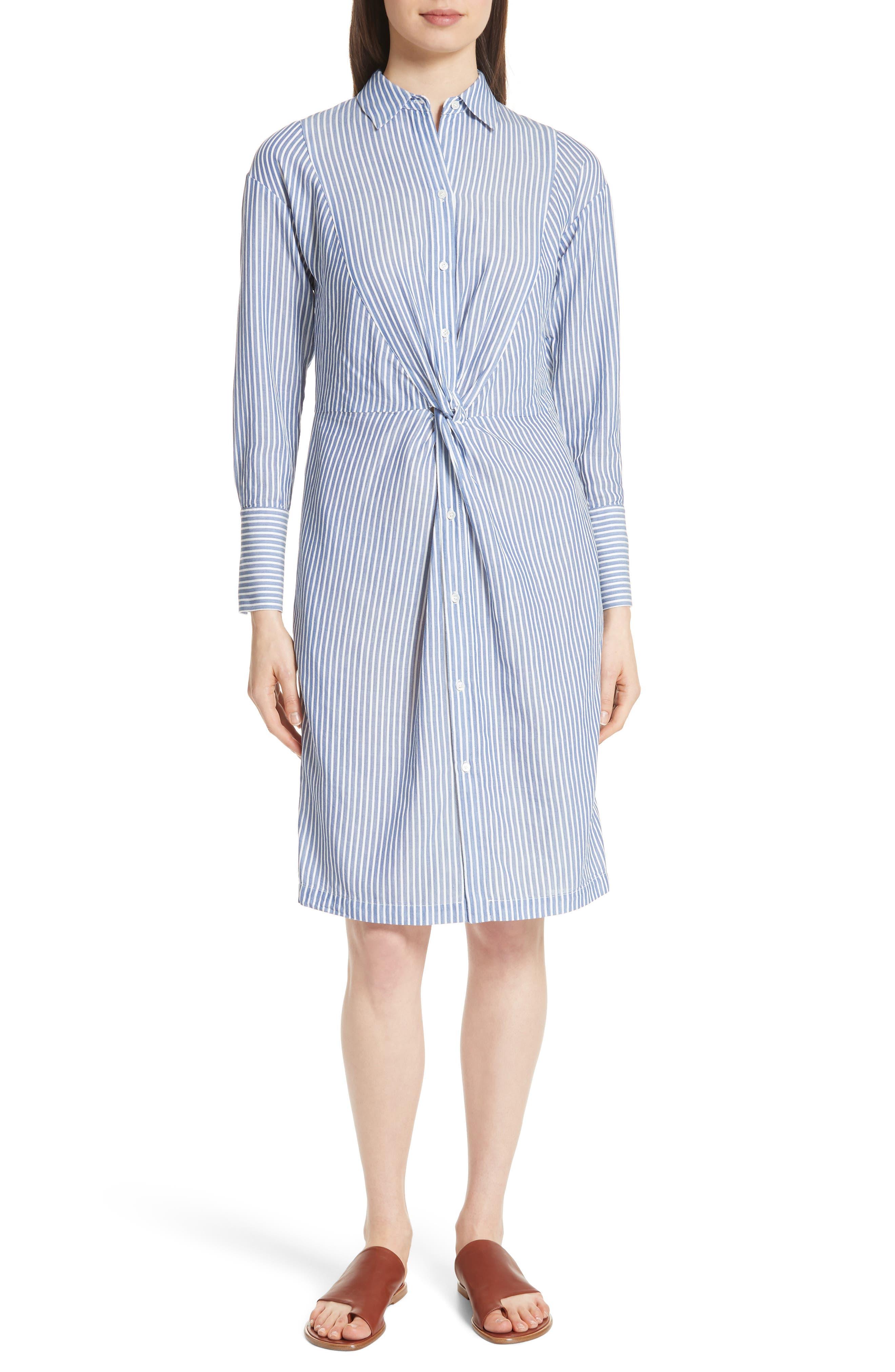 Classic Stripe Twist Cotton Blend Shirtdress,                         Main,                         color, White/ Blue