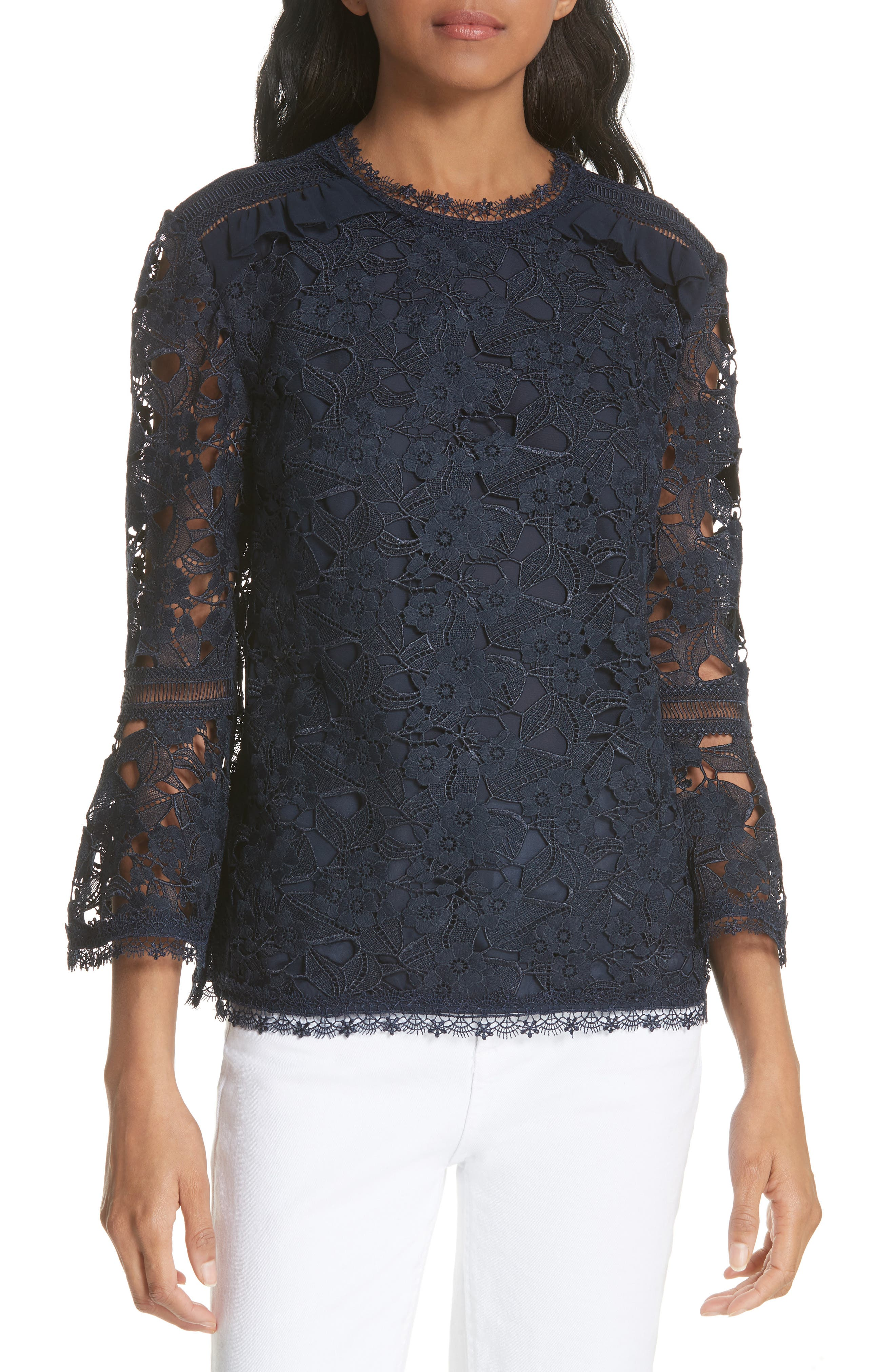 Flare Cuff Lace Top,                         Main,                         color, Navy