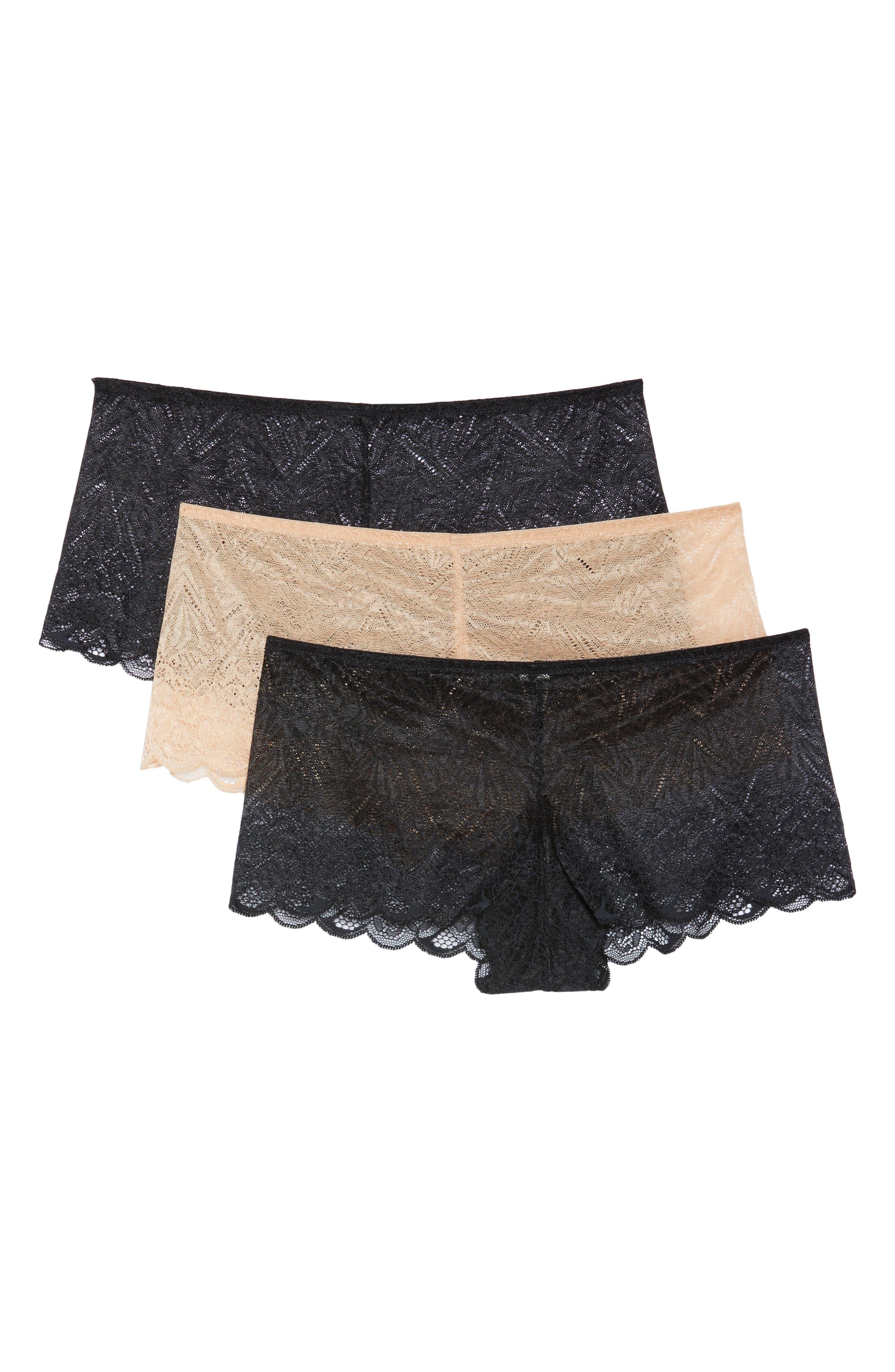 3-Pack Lace Boyshorts,                             Main thumbnail 1, color,                             Black/ Black/ Beige