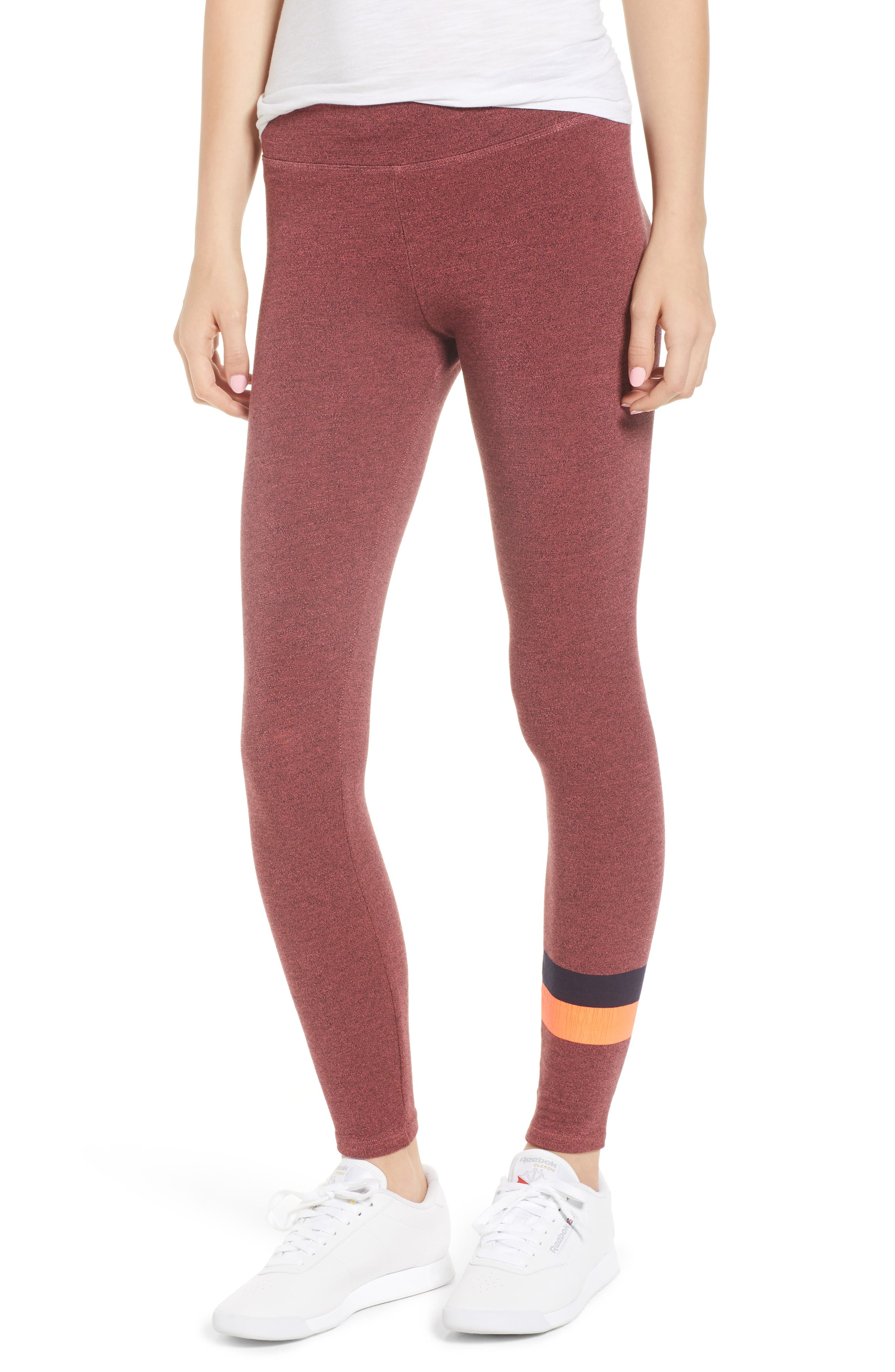 Active Stripe Yoga Pants,                             Main thumbnail 1, color,                             Hibiscus