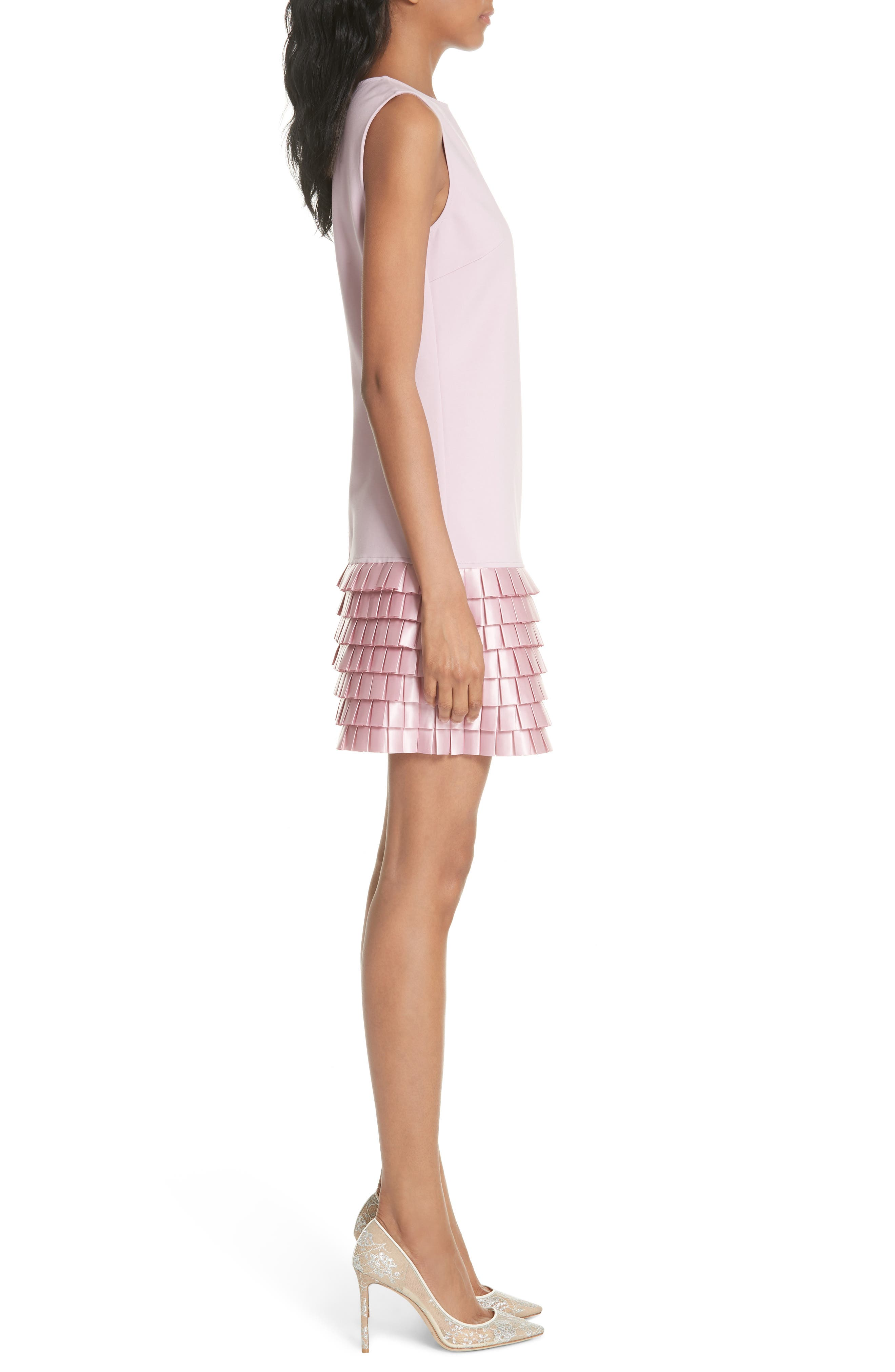 Satin Pleat Detail Shift Dress,                             Alternate thumbnail 3, color,                             Pale Pink