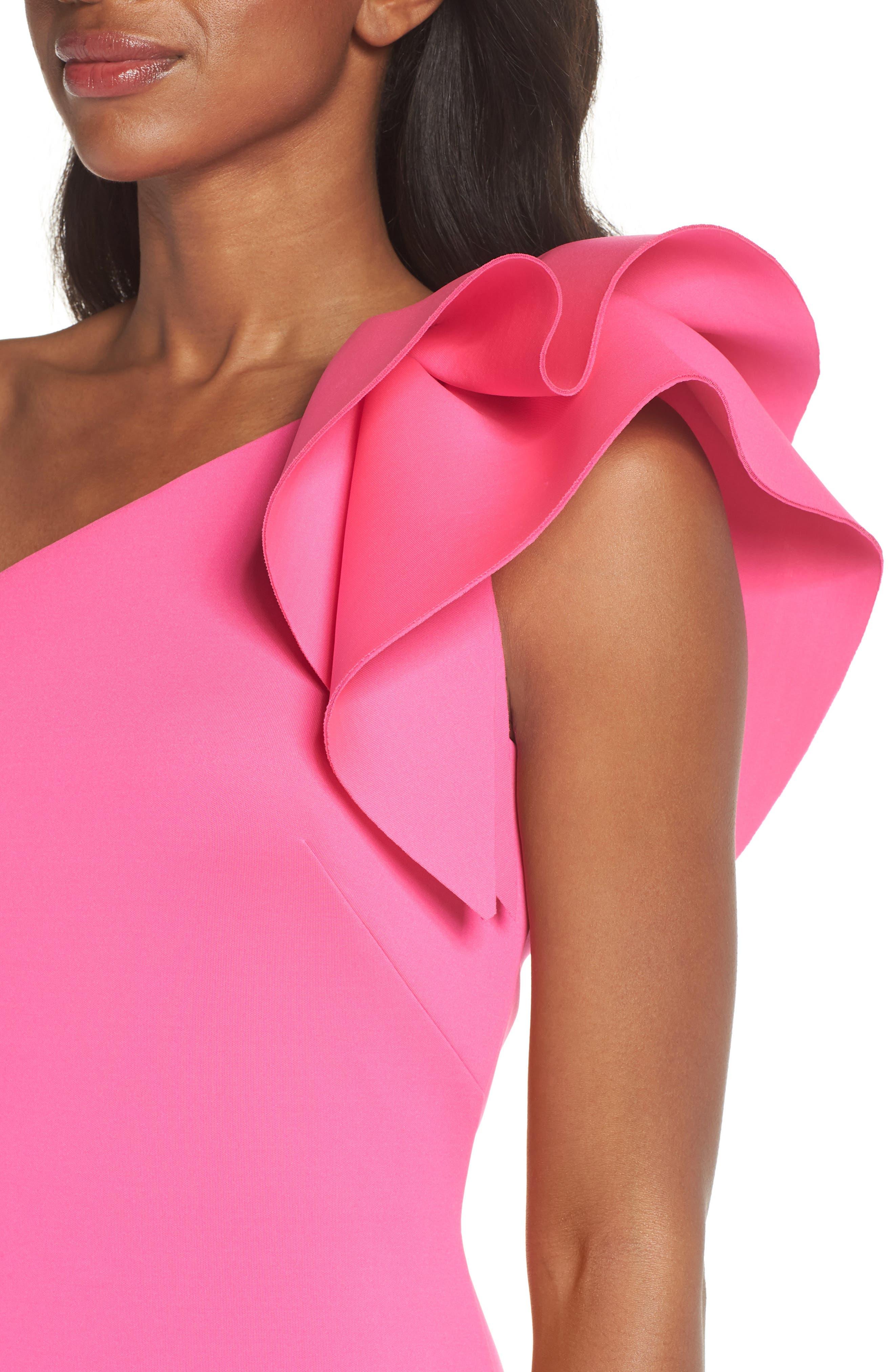 One-Shoulder Ruffle Sheath Dress,                             Alternate thumbnail 4, color,                             Hot Pink