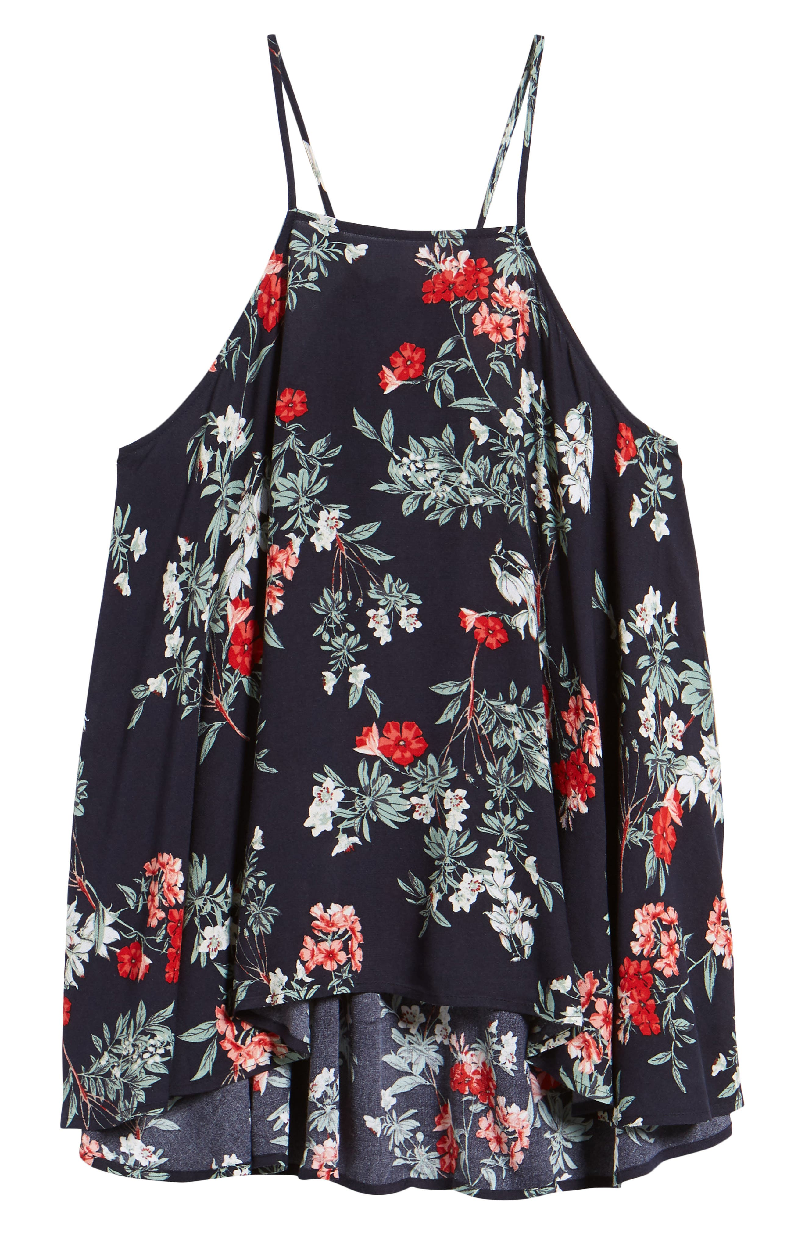 Floral Ruffle High/Low Tank,                             Alternate thumbnail 7, color,                             Navy Night Fresh Blooms