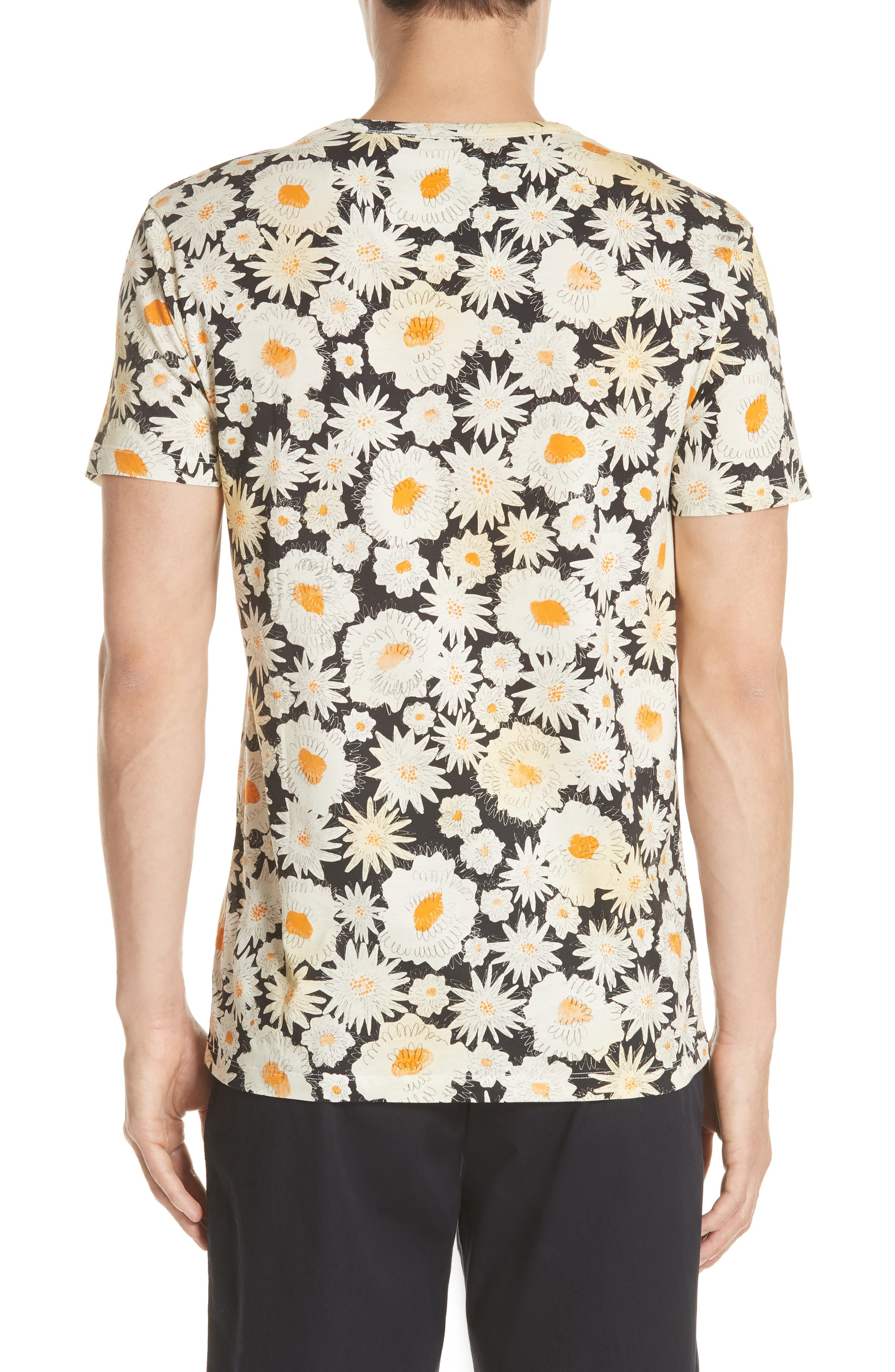 Adderton Flower Print T-Shirt,                             Alternate thumbnail 2, color,                             Black