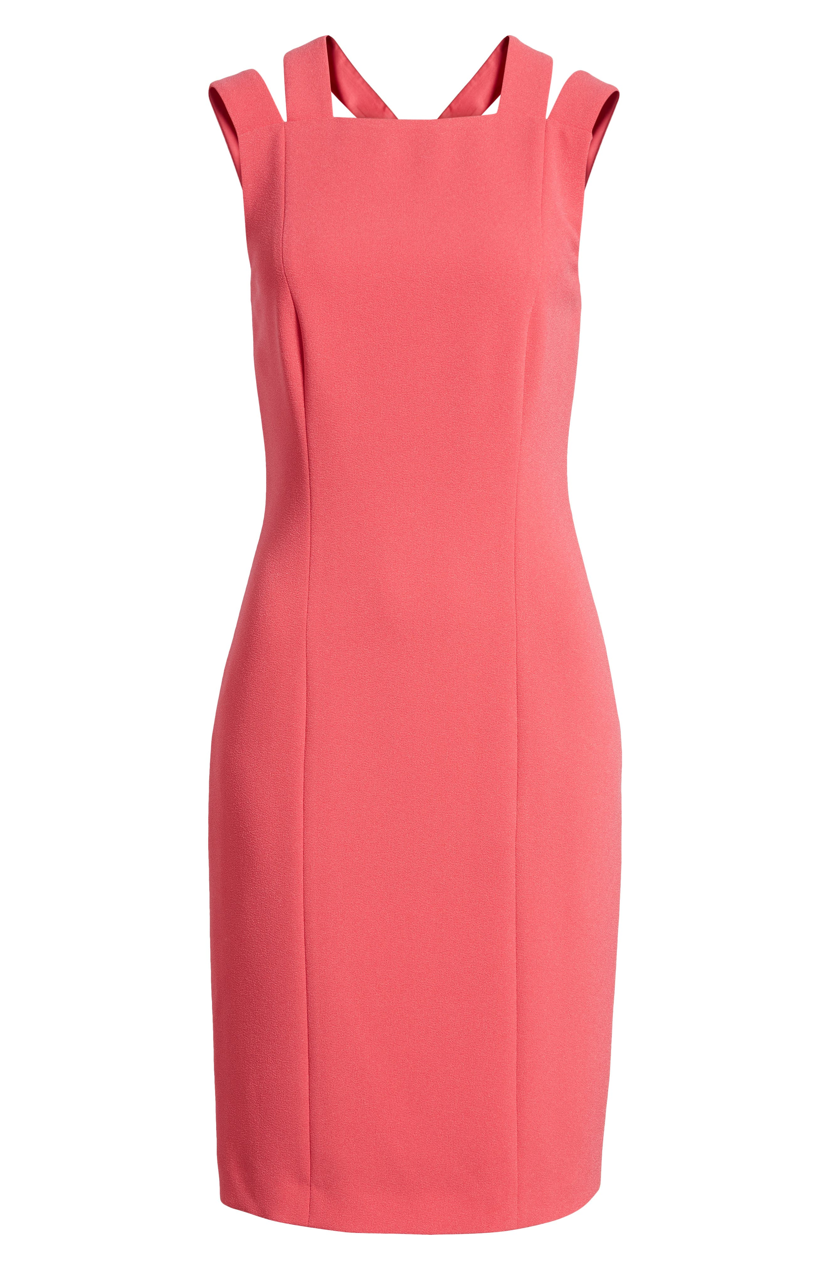 Daphima Compact Crepe Sheath Dress,                             Alternate thumbnail 7, color,                             Lychee Pink