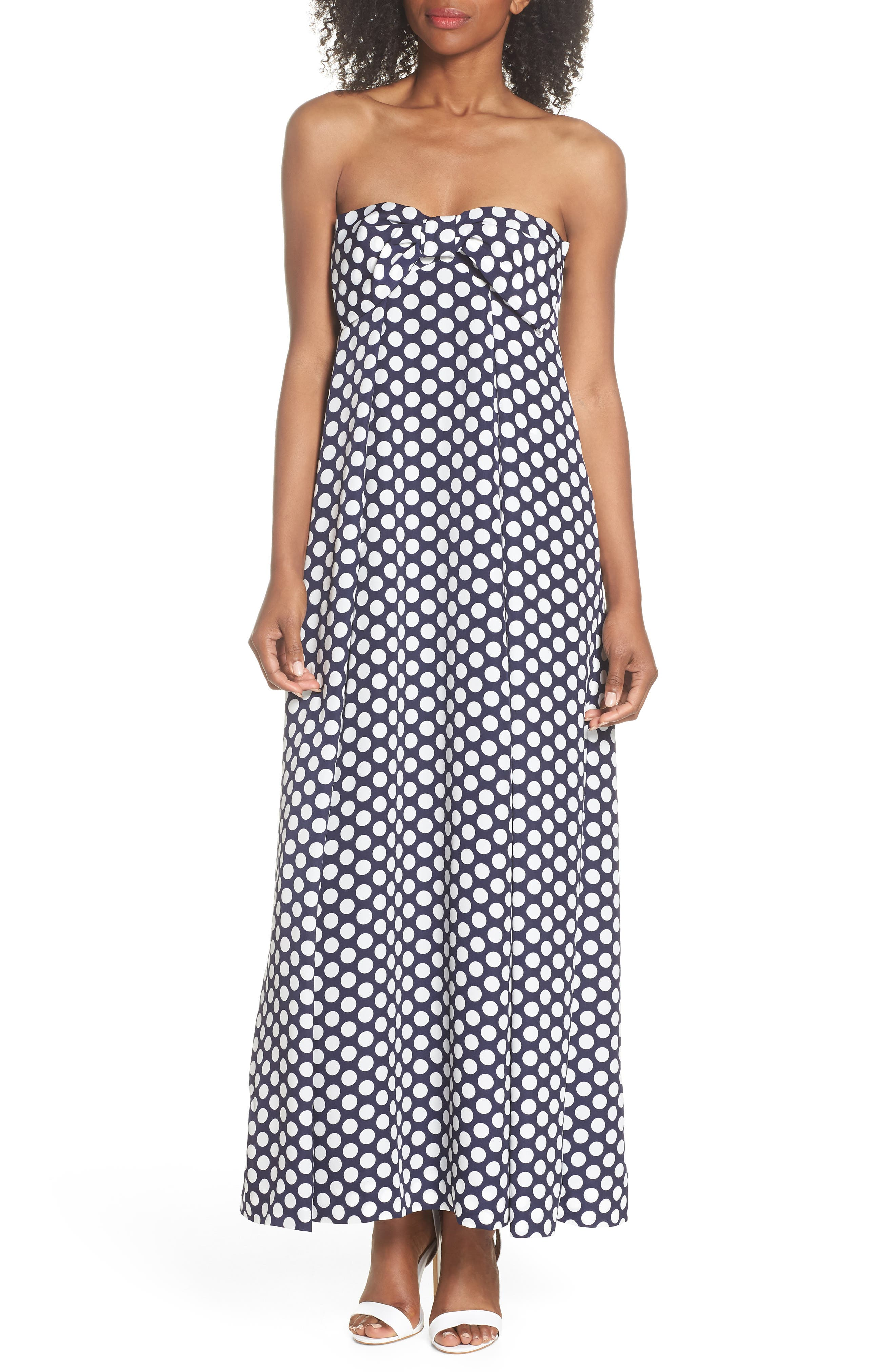 Strapless Dot Tie Front Maxi Dress,                         Main,                         color, Dark Ink