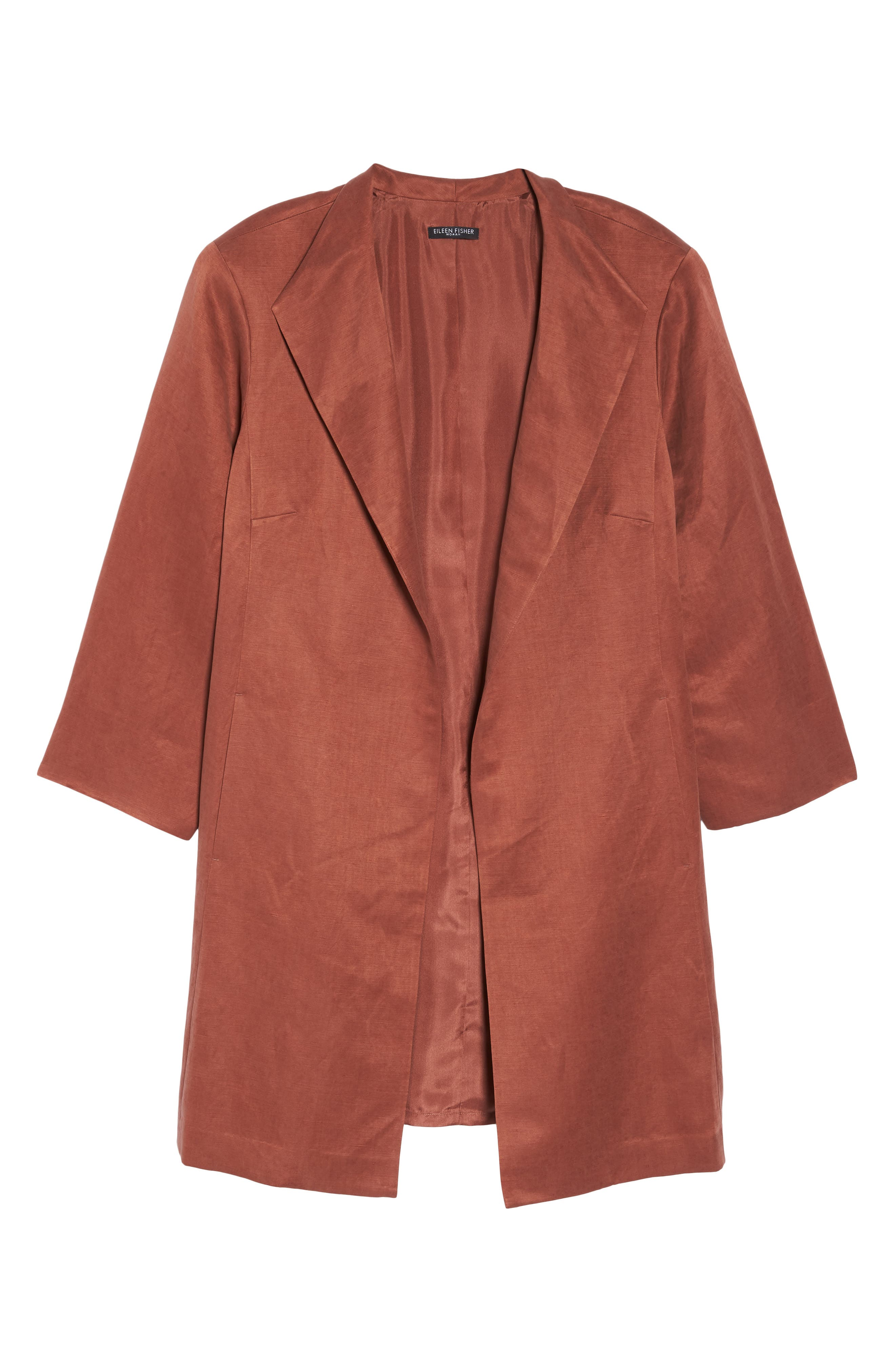Alternate Image 6  - Eileen Fisher Linen & Silk High Collar Coat (Plus Size)