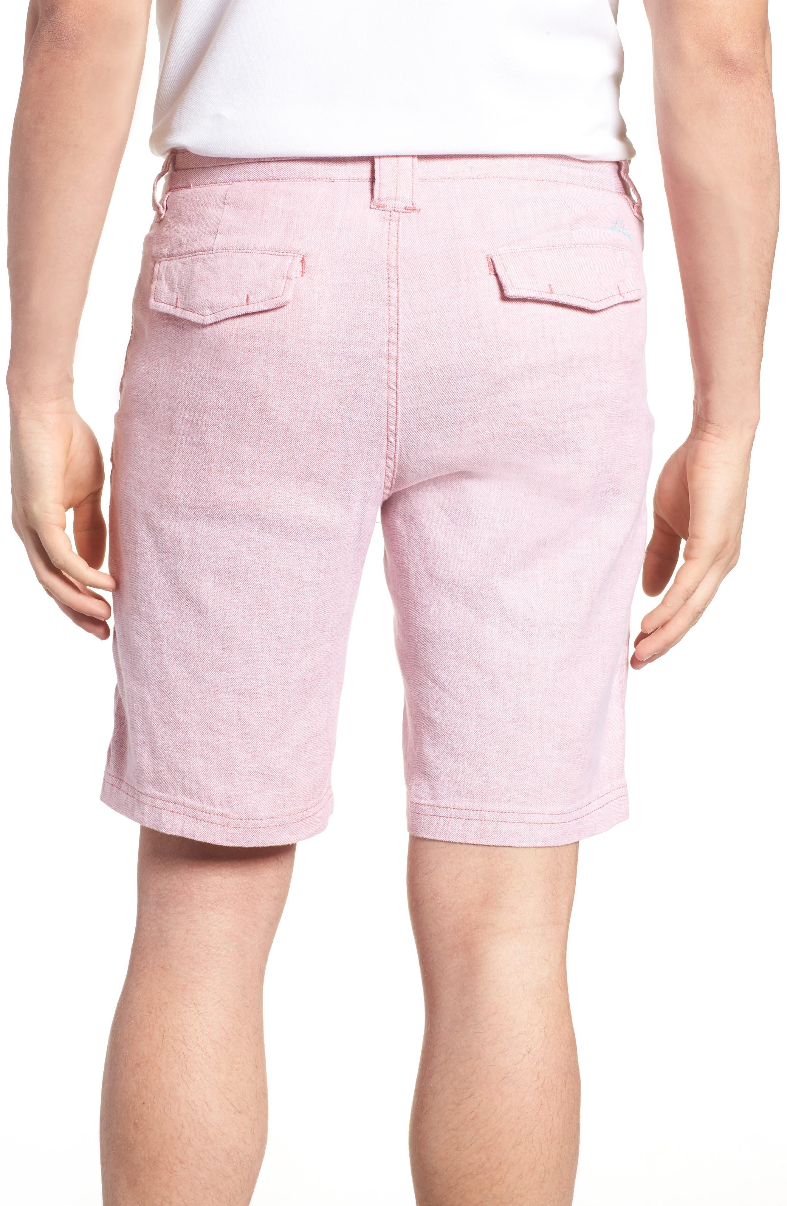 Beach Linen Blend Shorts,                             Alternate thumbnail 2, color,                             Red Sunset