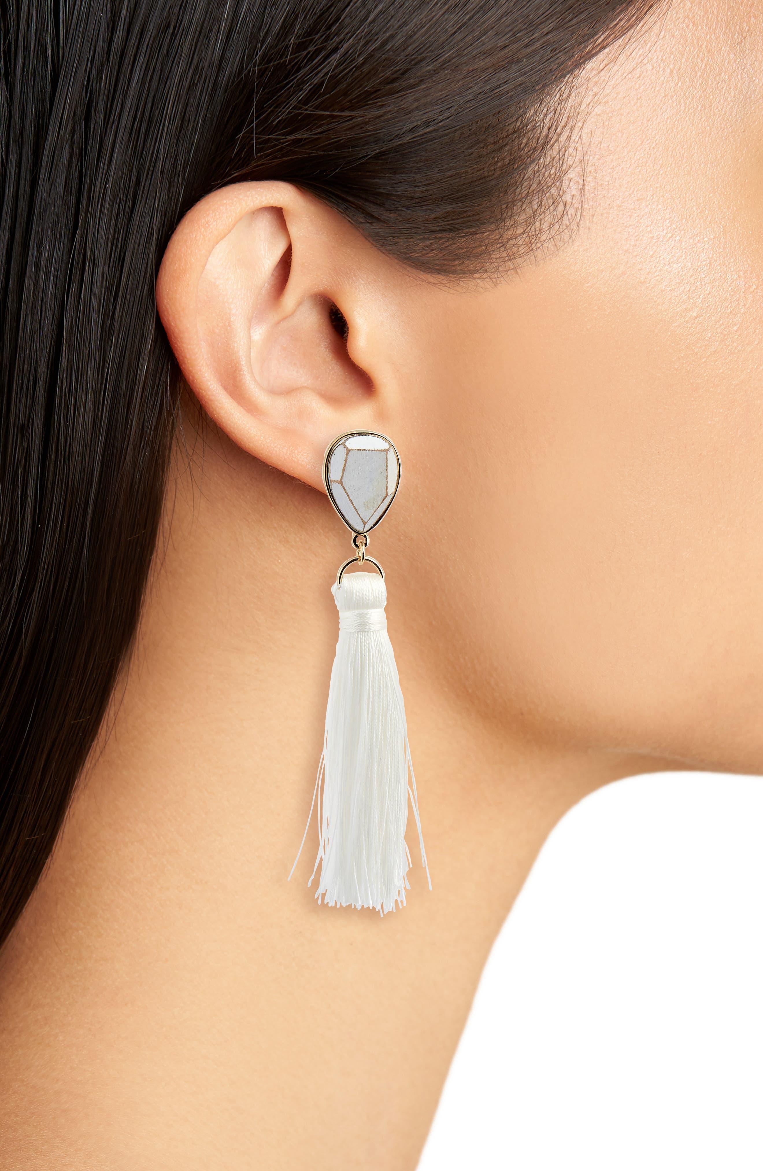 Wood Tassel Drop Earrings,                             Alternate thumbnail 2, color,                             White