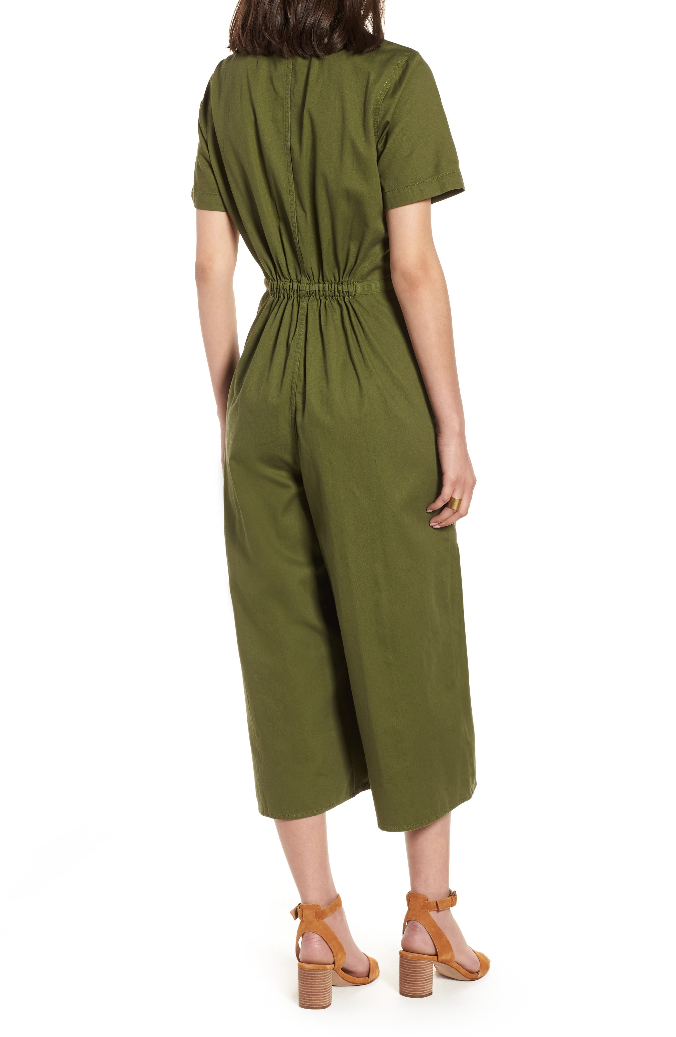 Wide Leg Utility Jumpsuit,                             Alternate thumbnail 2, color,                             Desert Olive