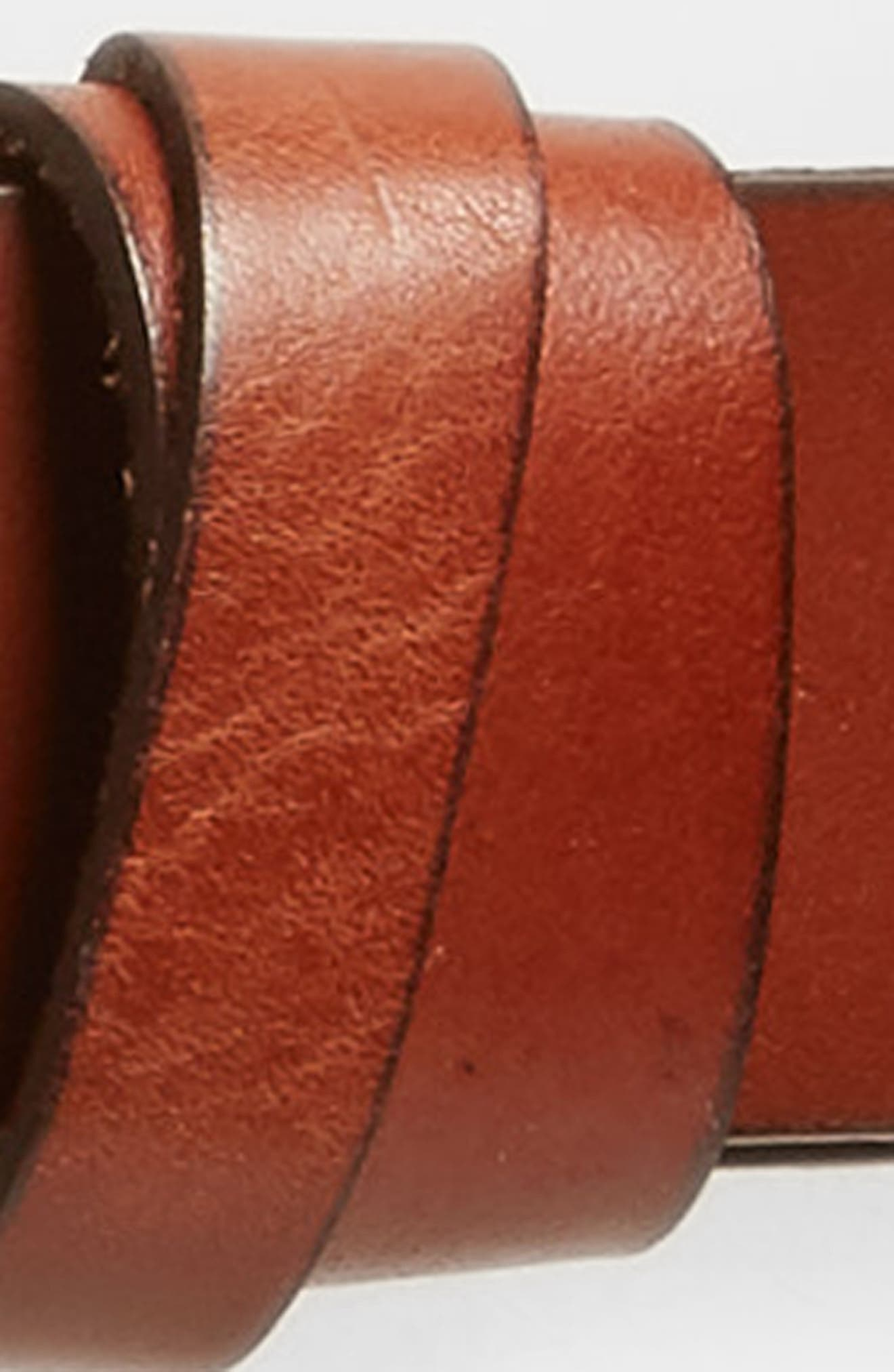 Double Loop Leather Belt,                             Alternate thumbnail 3, color,                             Brown Amber