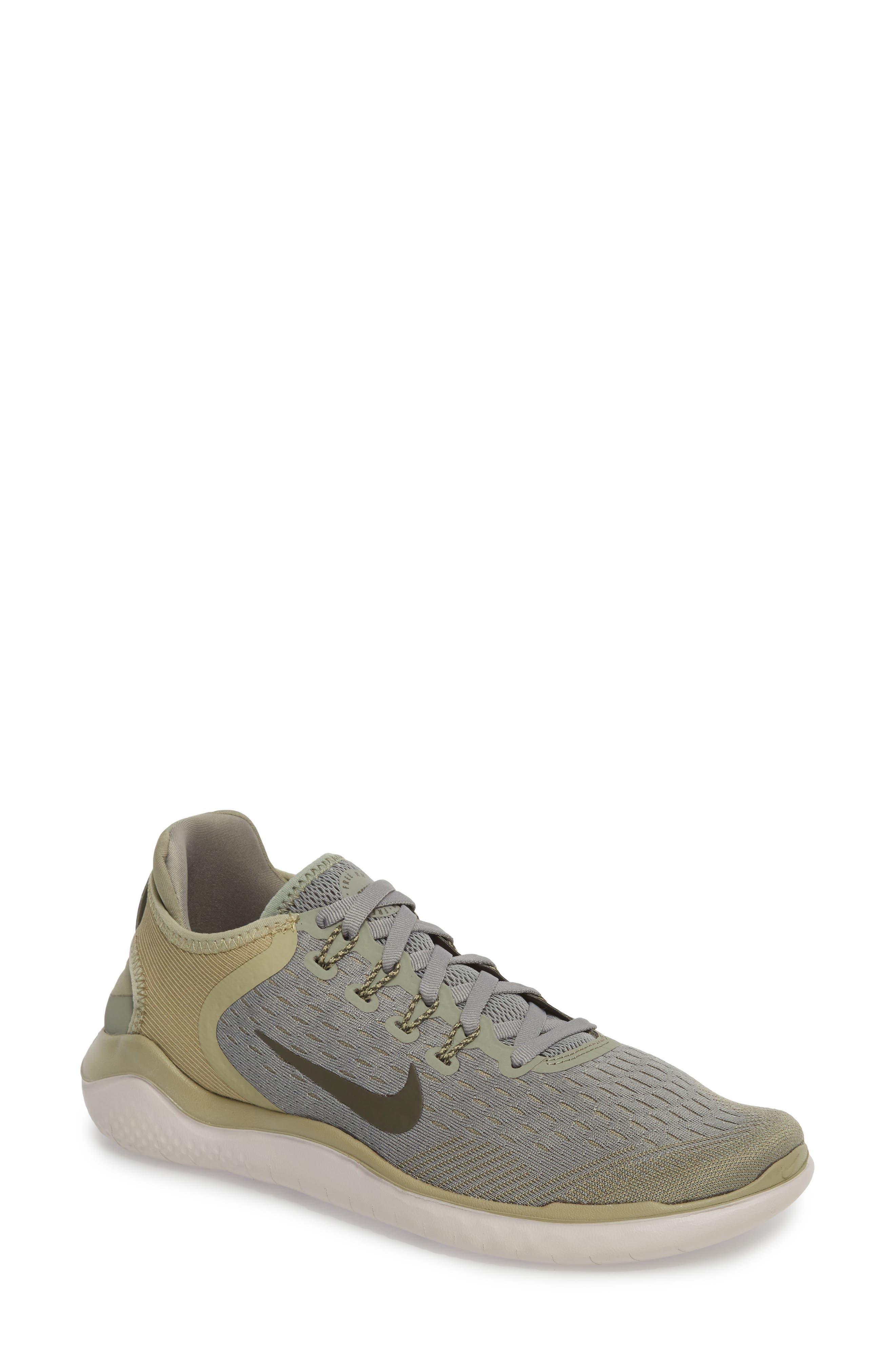 Free RN 2018 Running Shoe,                         Main,                         color, Dark Stucco/ Cargo Khaki
