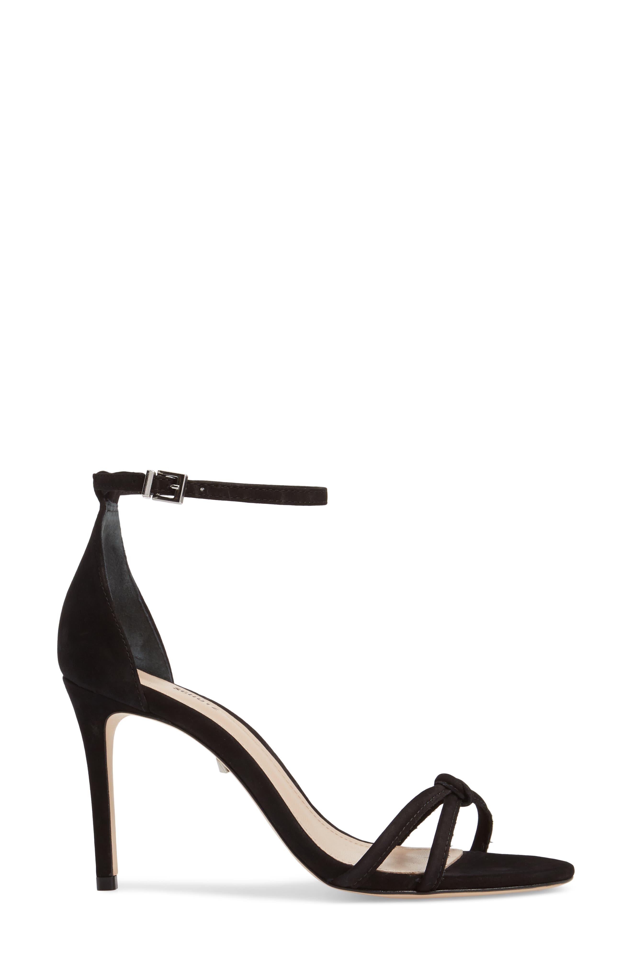 Rhana Ankle Strap Sandal,                             Alternate thumbnail 3, color,                             Black Leather
