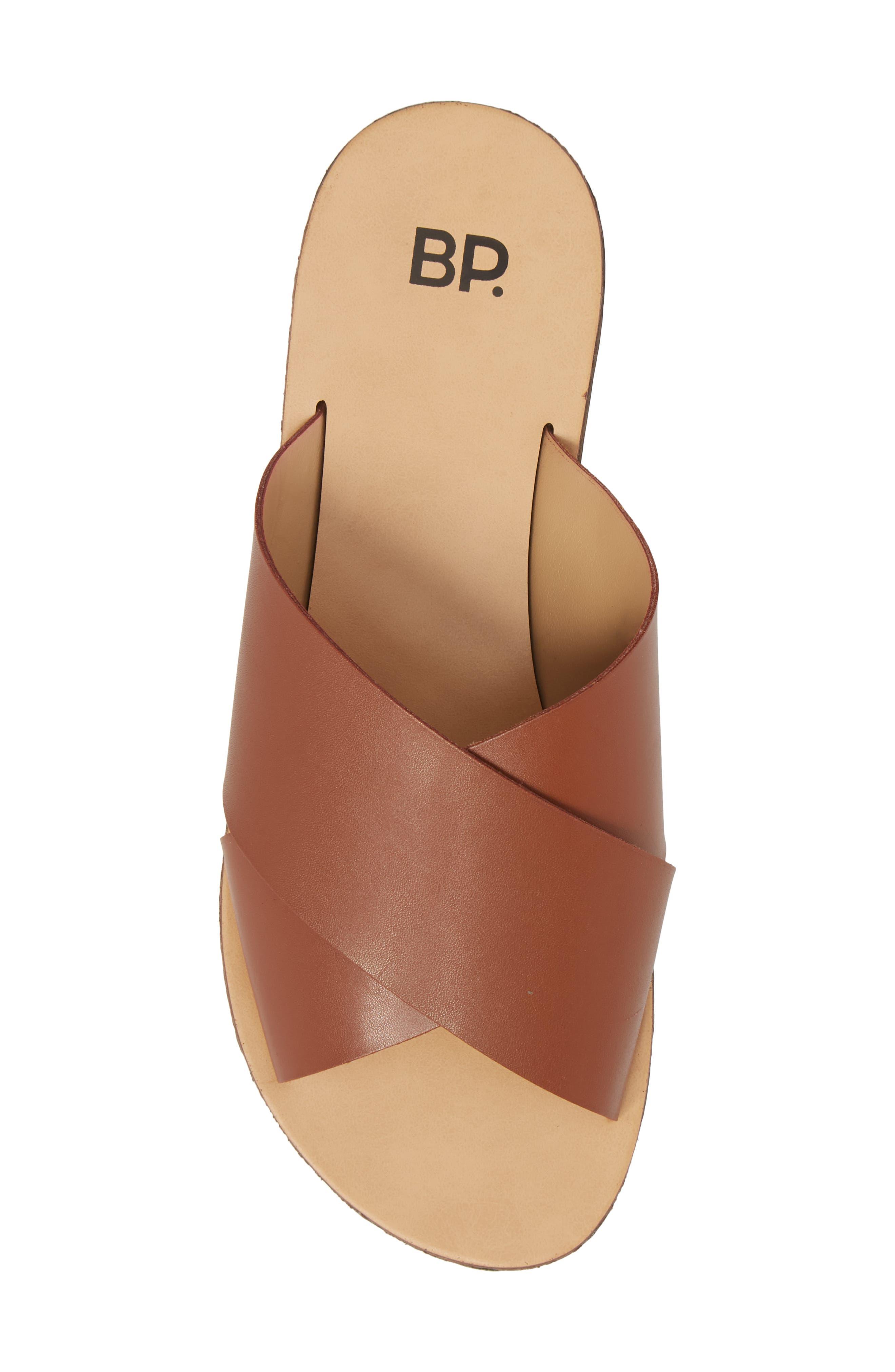 Twist Cross Strap Sandal,                             Alternate thumbnail 5, color,                             Cognac Faux Leather