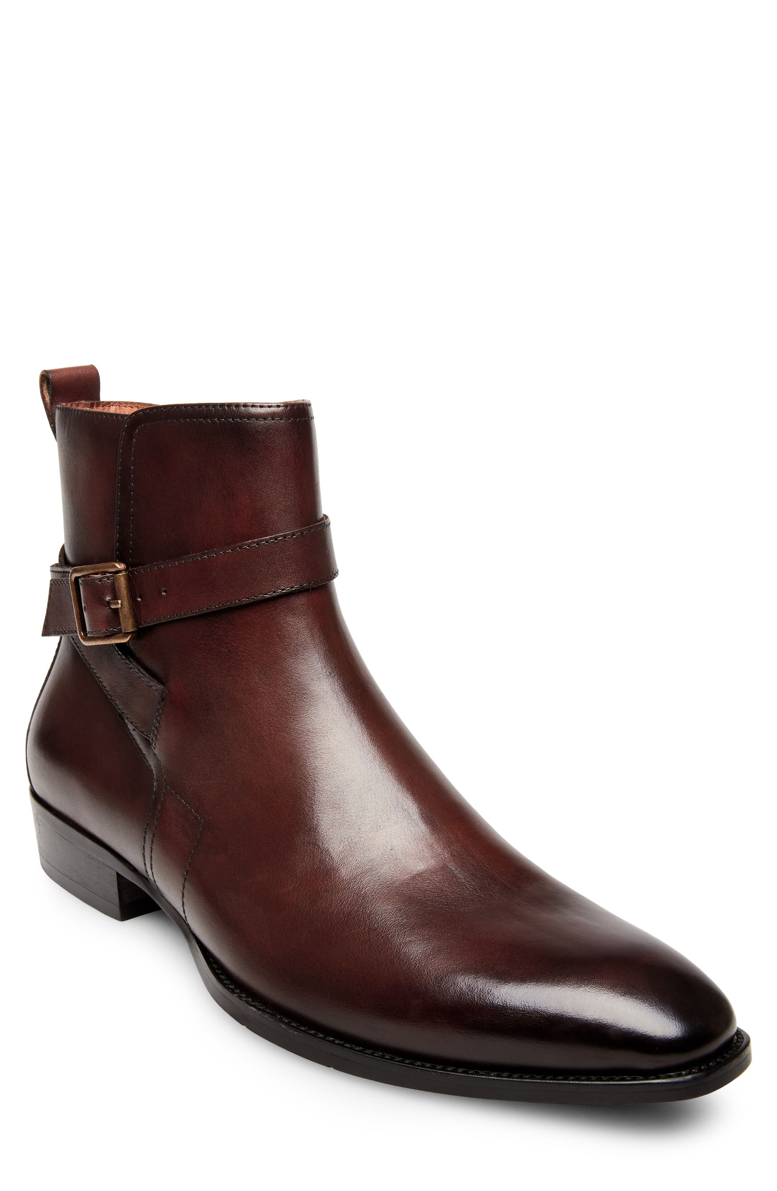 Sacha Buckle Strap Boot,                             Main thumbnail 1, color,                             Brown Leather