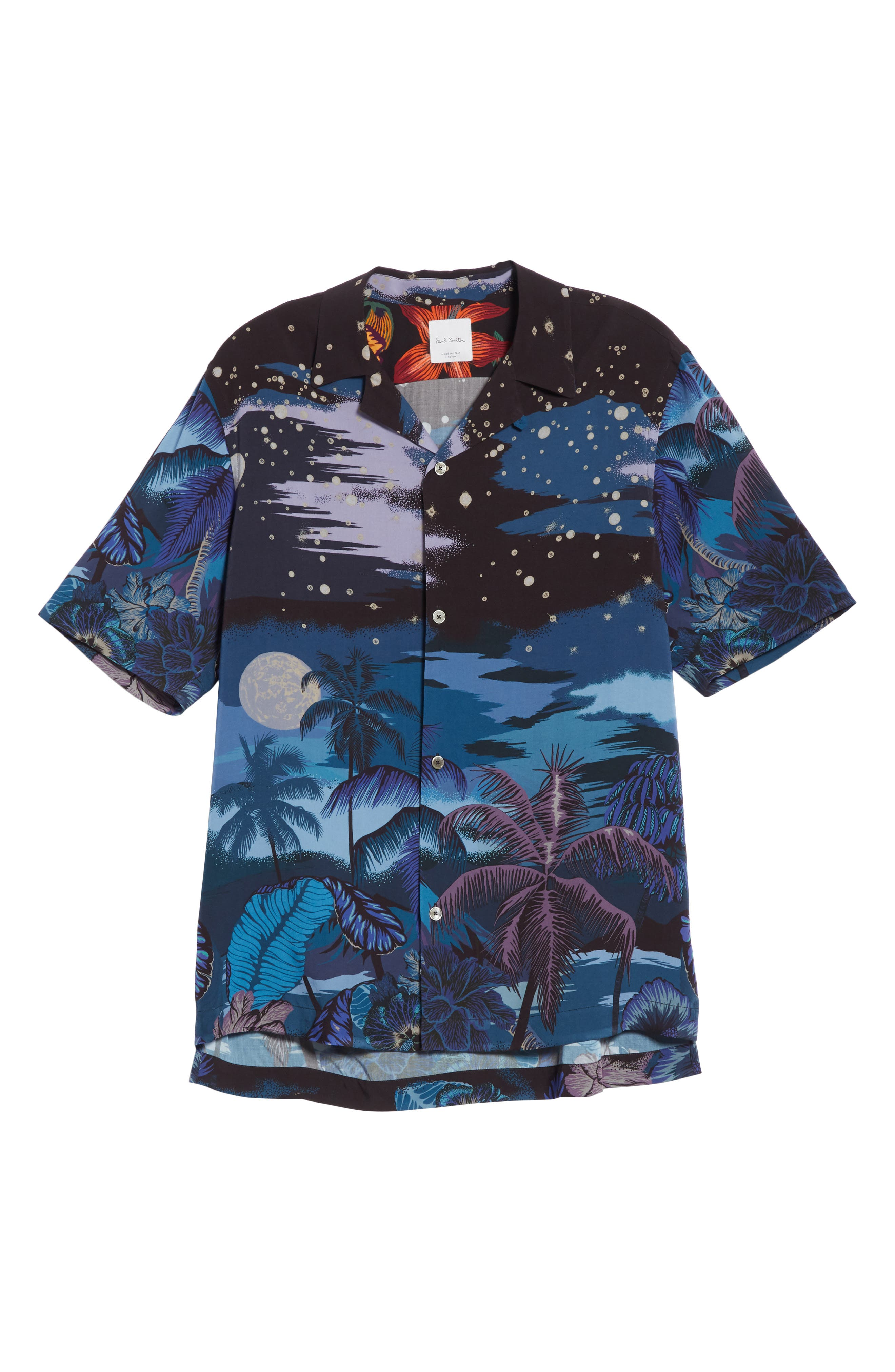 Palm Tree Print Shirt,                             Alternate thumbnail 6, color,                             47 Midnight
