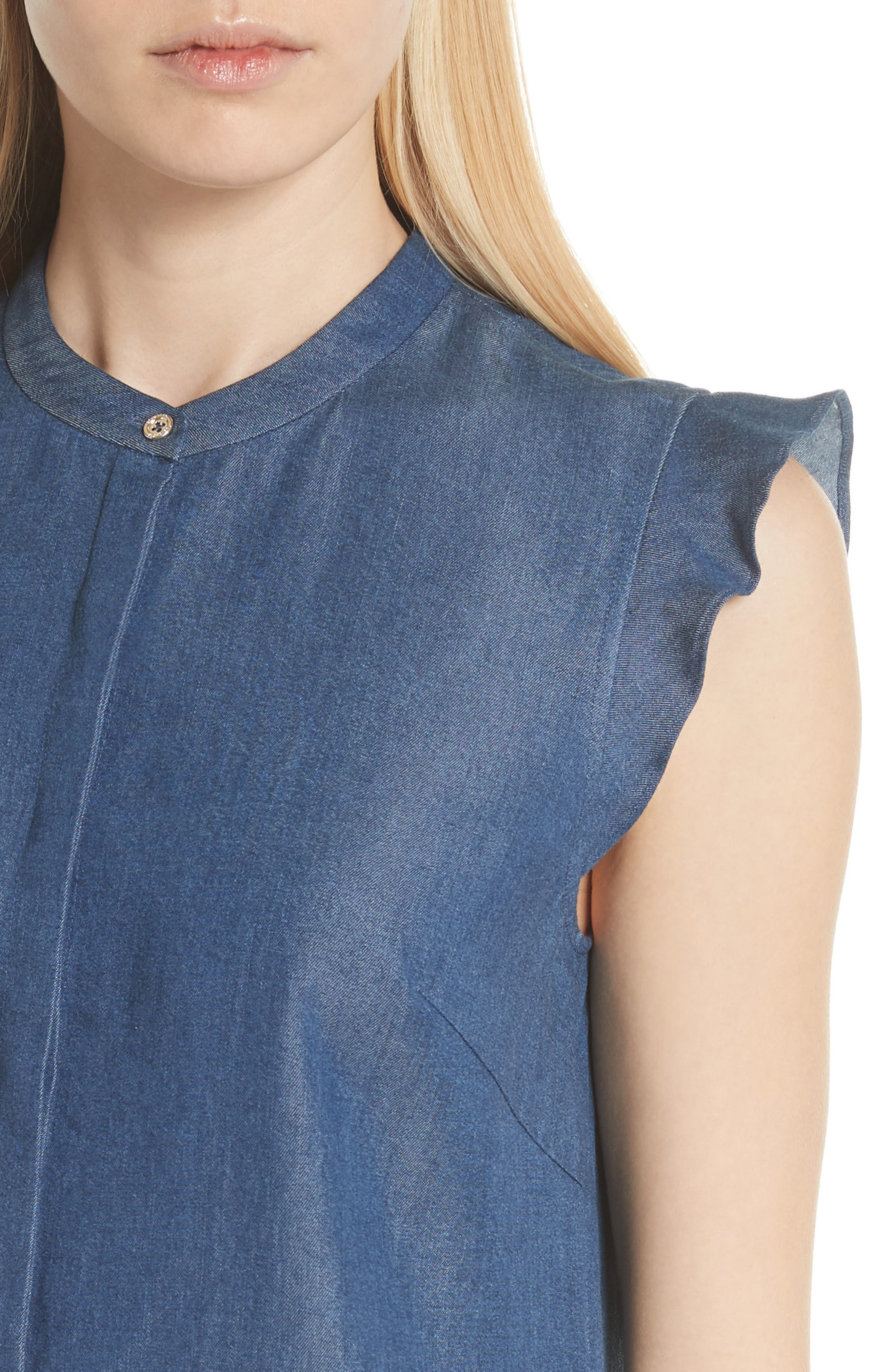 Colour by Numbers Denim Top,                             Alternate thumbnail 4, color,                             Mid-Wash