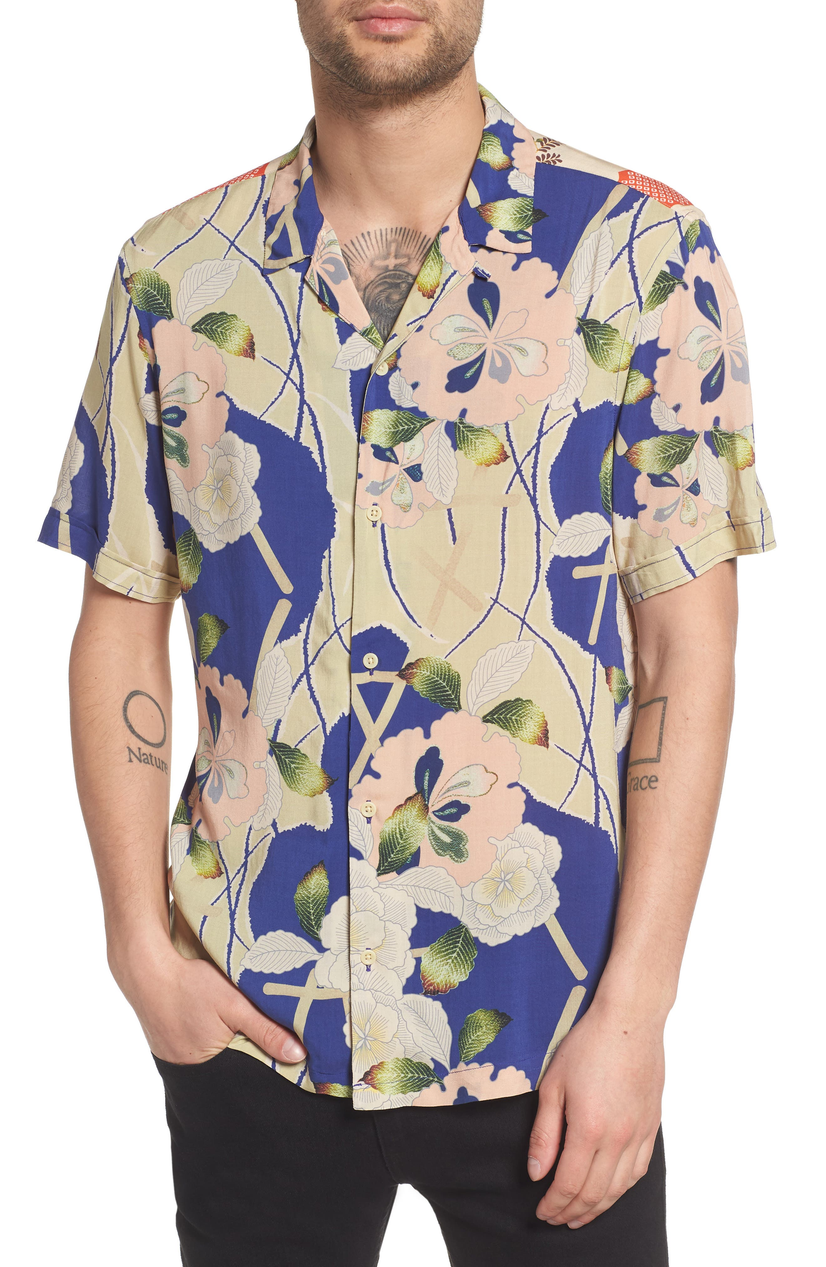 Fuyugi Regular Fit Short Sleeve Sport Shirt,                         Main,                         color, Ink Navy
