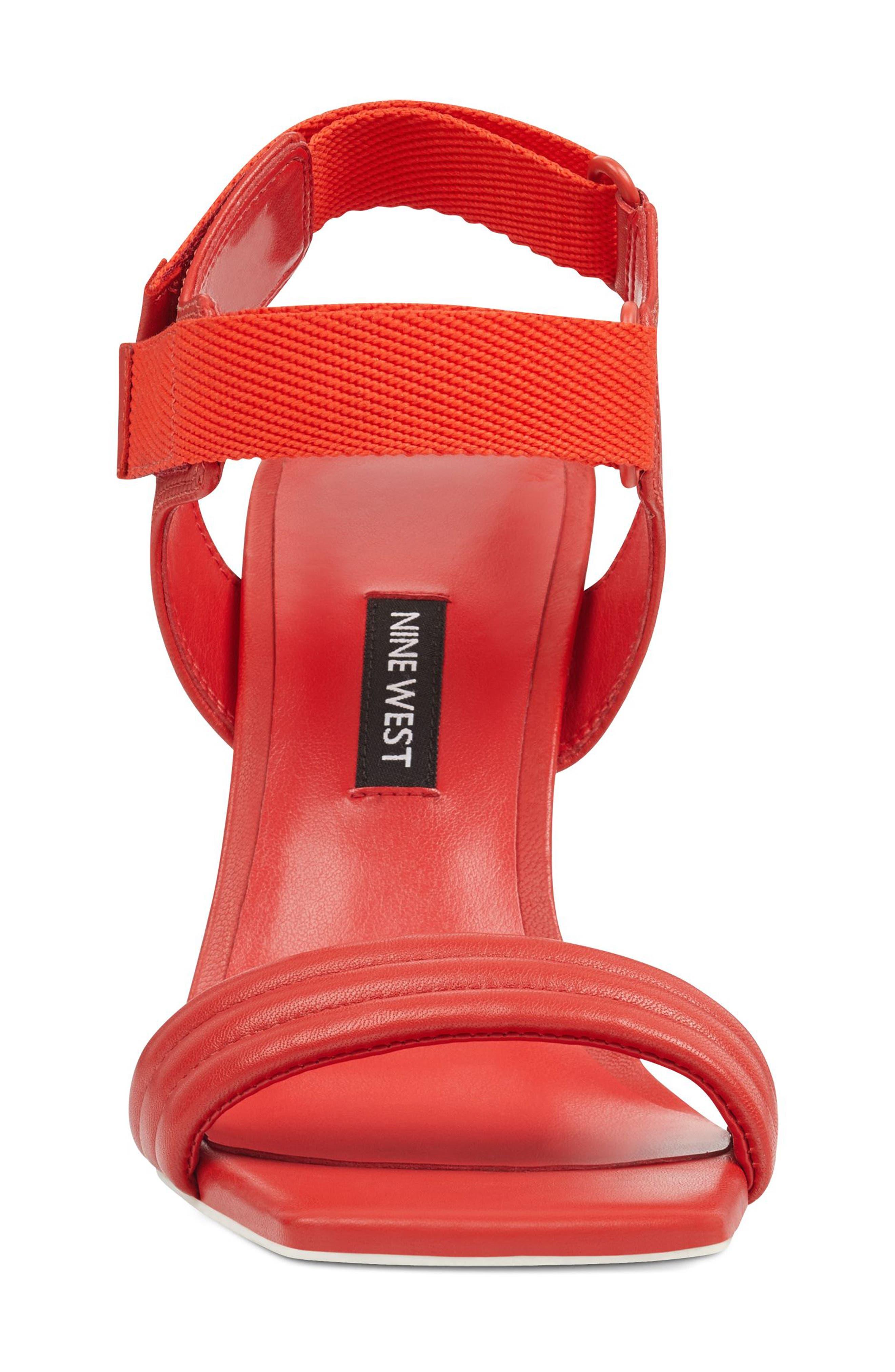 Zebree Sandal,                             Alternate thumbnail 3, color,                             Red Leather