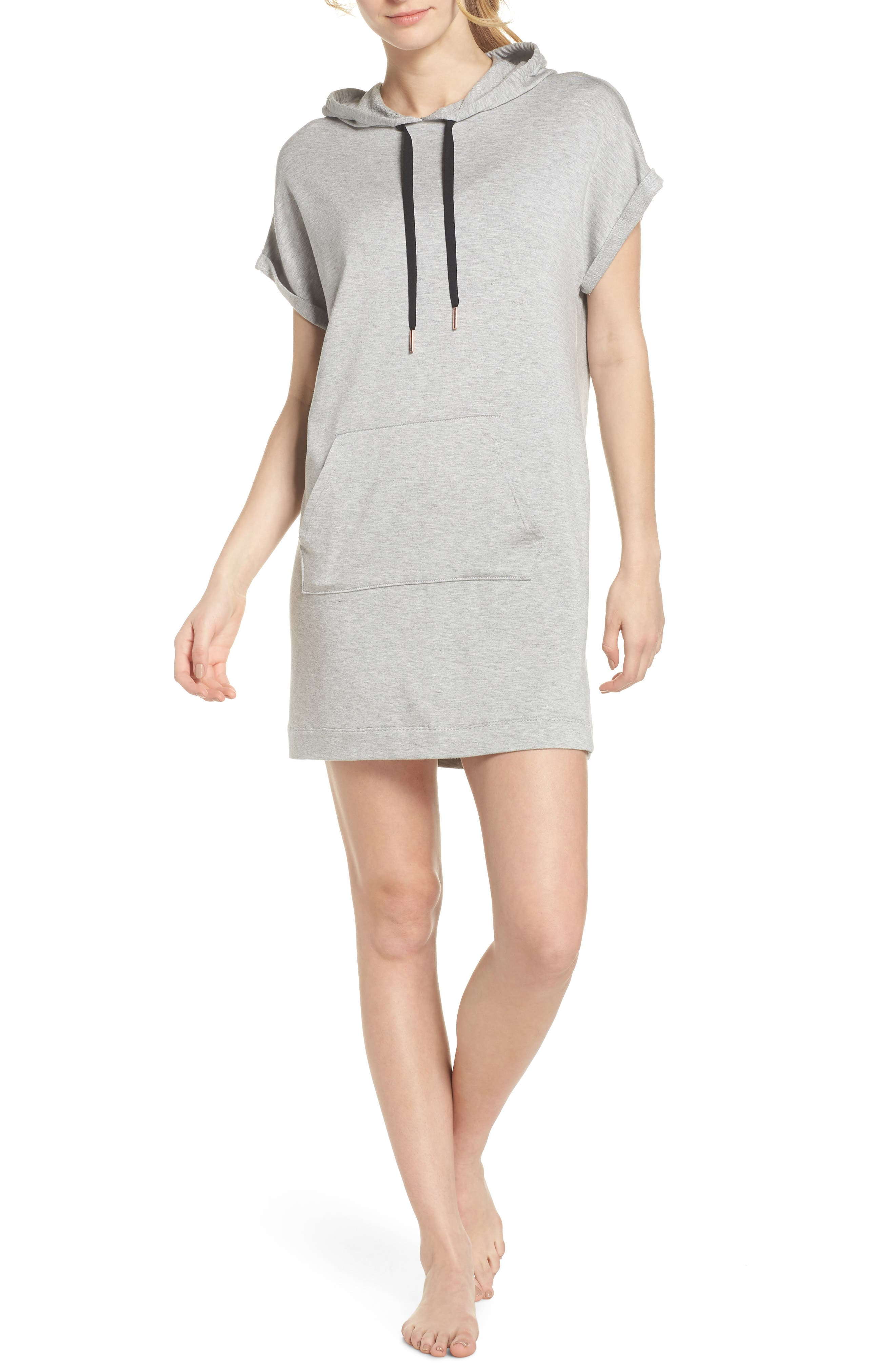 It's All Hoodie Hooded Sweatshirt Dress,                             Main thumbnail 1, color,                             Light Heather Gray
