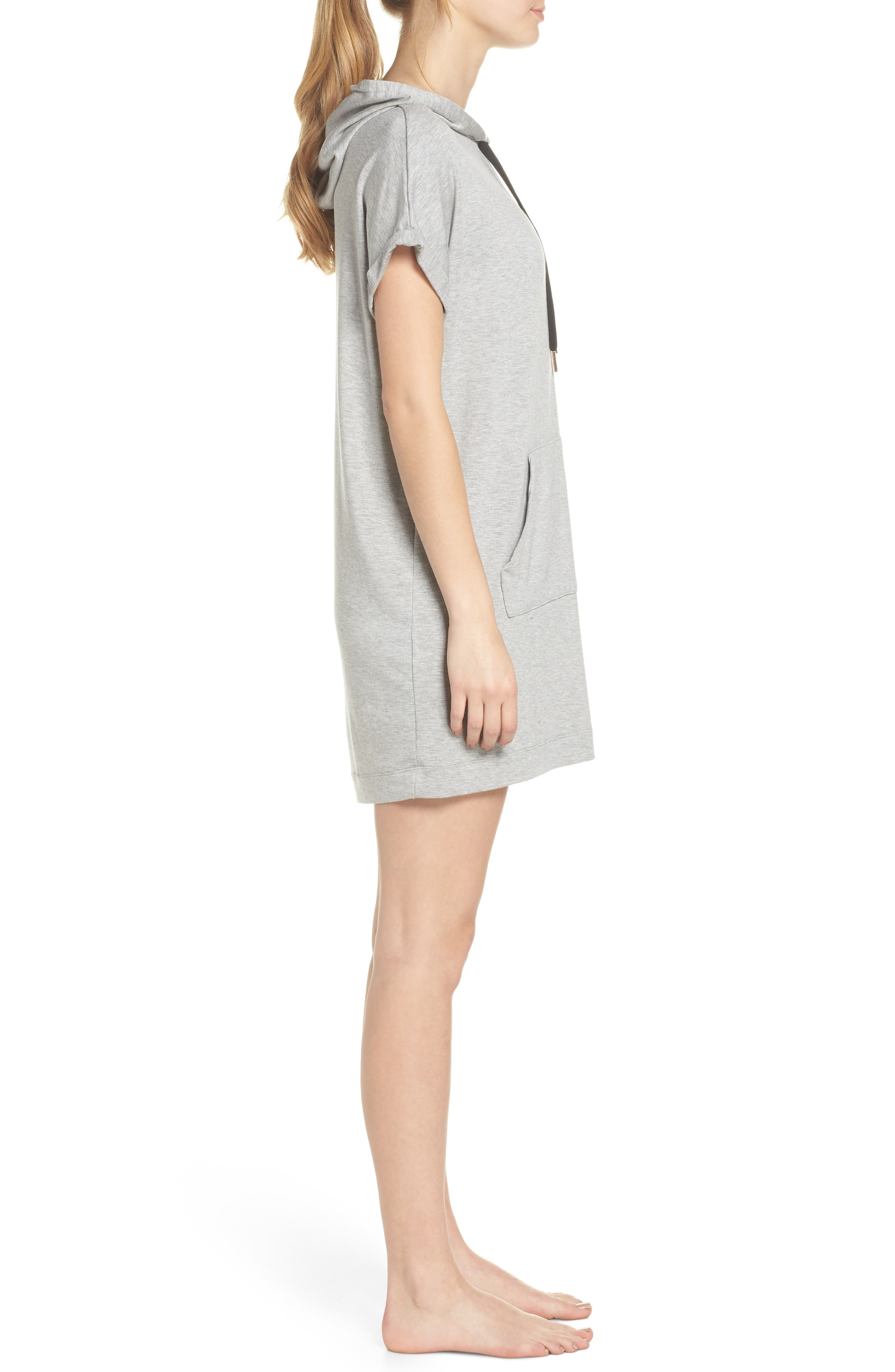 It's All Hoodie Hooded Sweatshirt Dress,                             Alternate thumbnail 6, color,                             Light Heather Gray