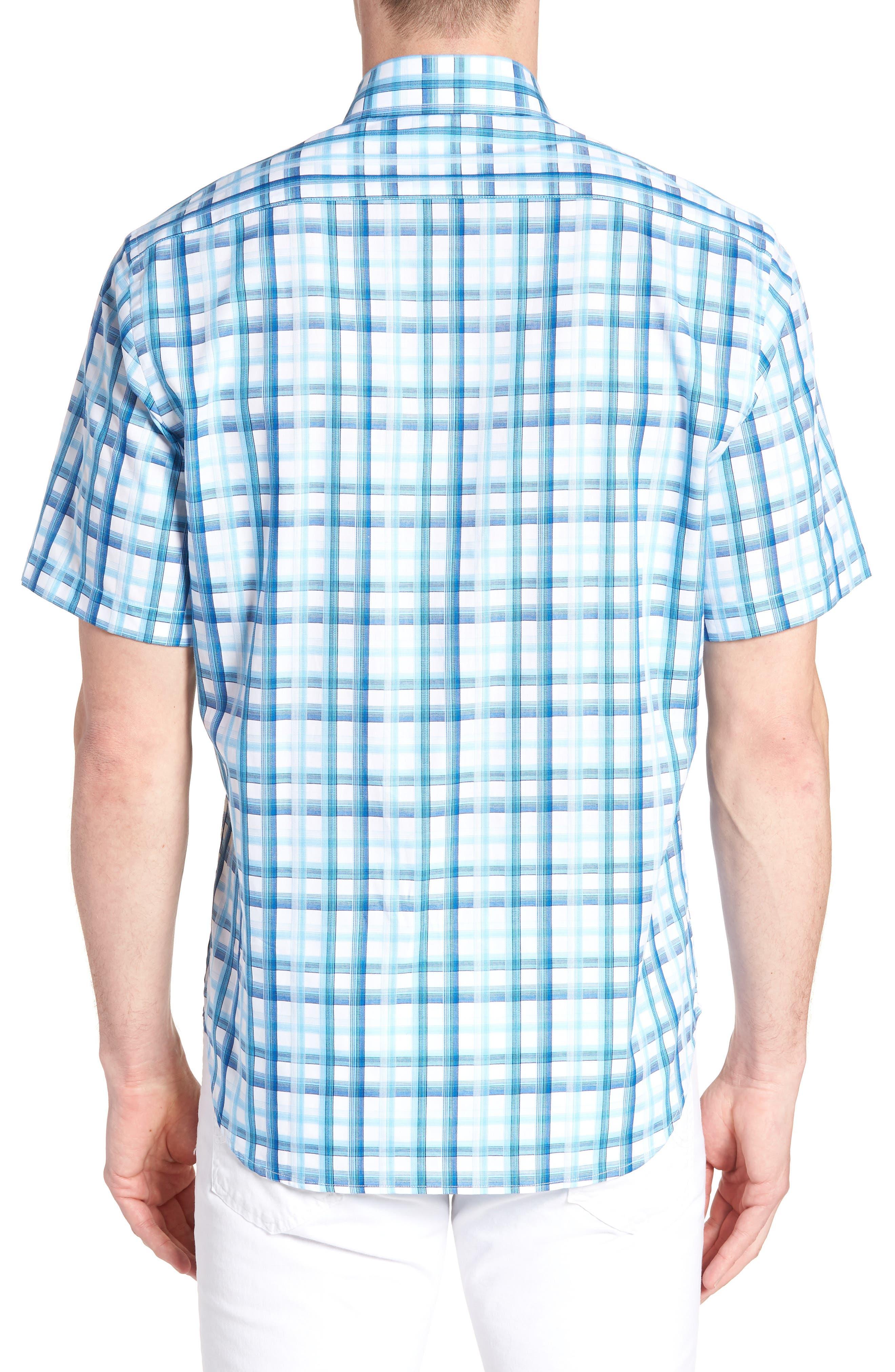 Larkin Regular Fit Plaid Sport Shirt,                             Alternate thumbnail 3, color,                             Aqua