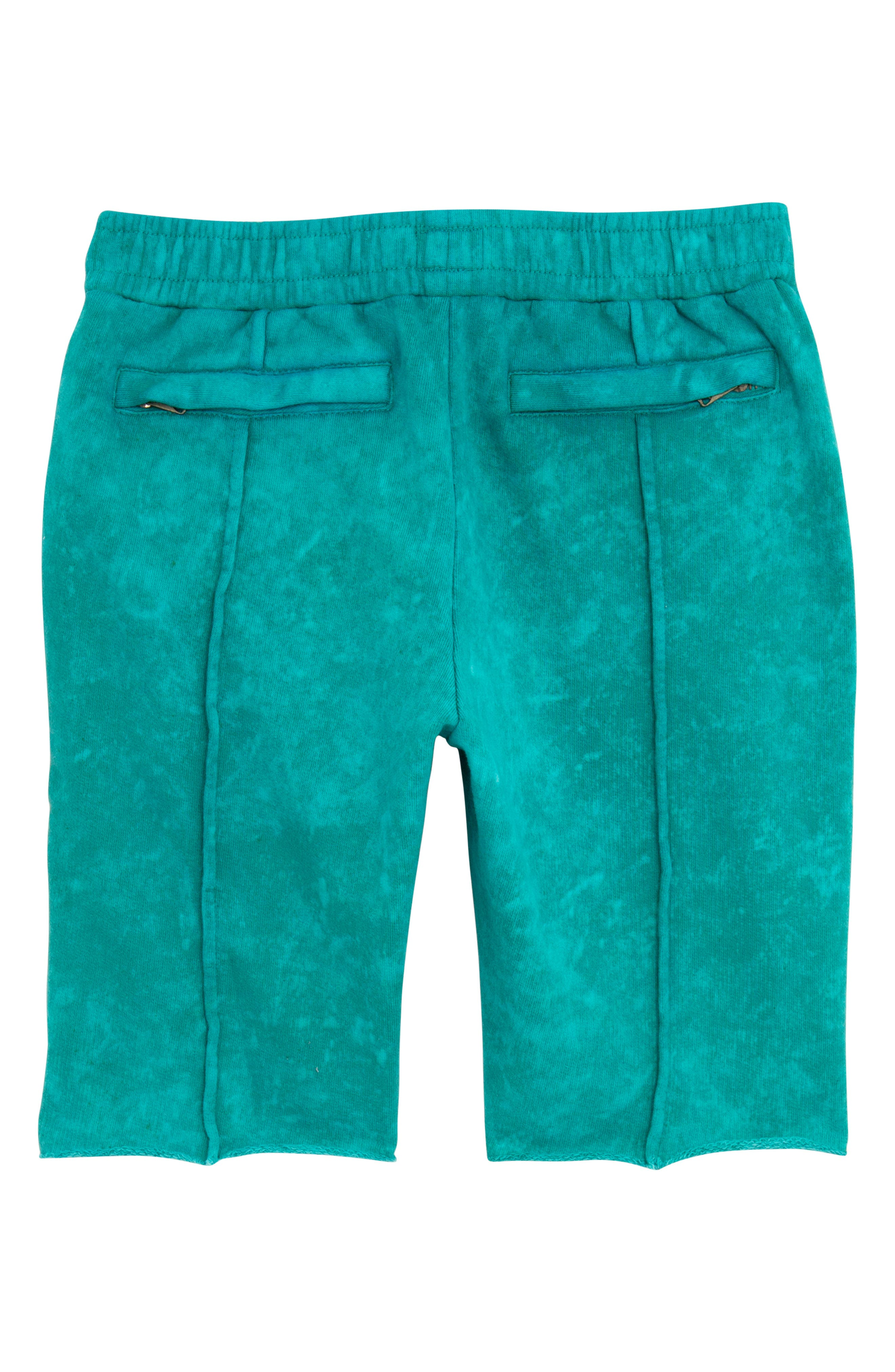 Acid Wash Pull-On Denim Shorts,                             Alternate thumbnail 2, color,                             Turquoise