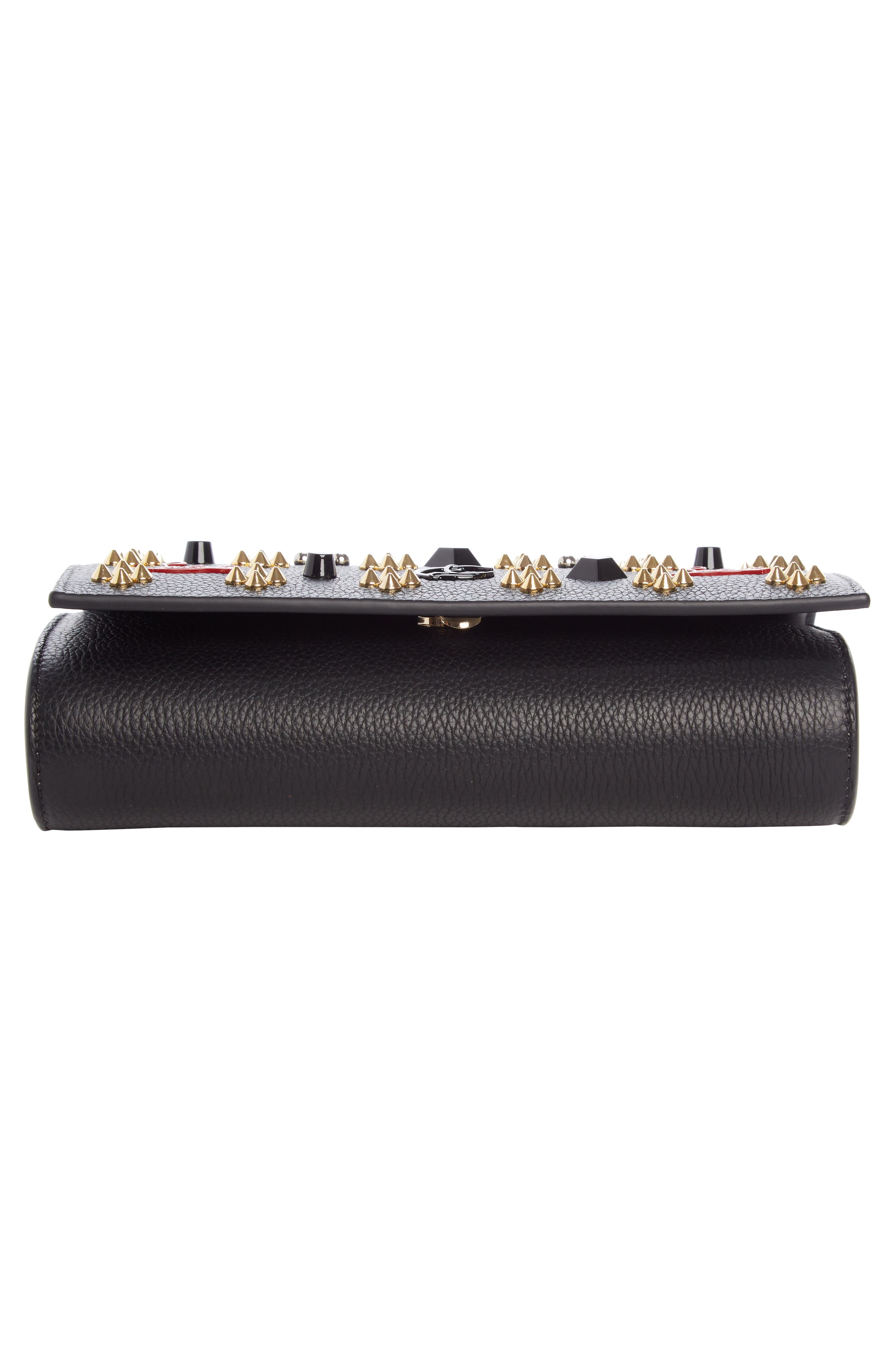 Paloma Empire Calfskin Clutch,                             Alternate thumbnail 5, color,                             Black/ Red-Gold