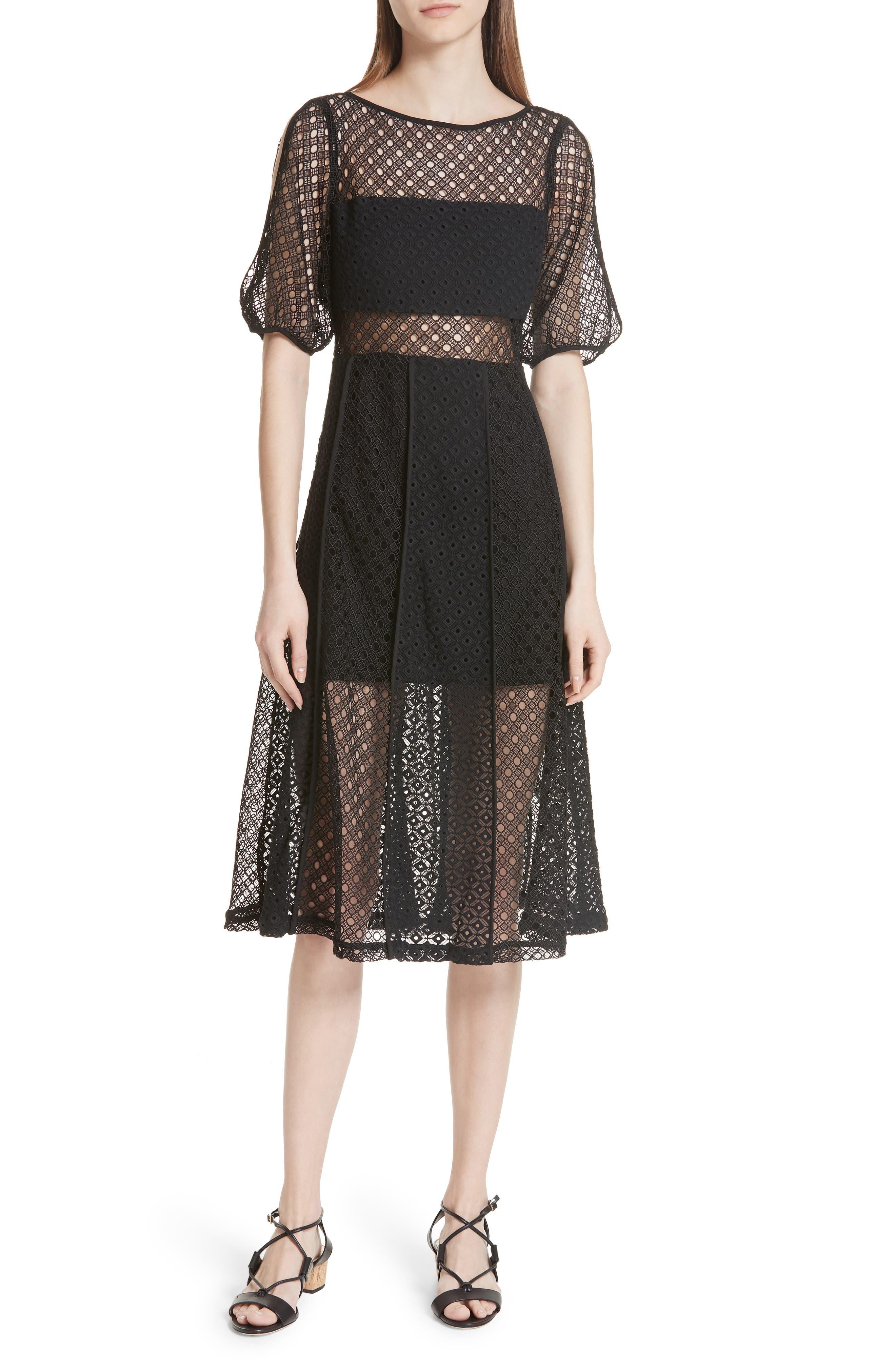 sandro Noir Lace Slit Sleeve Dress