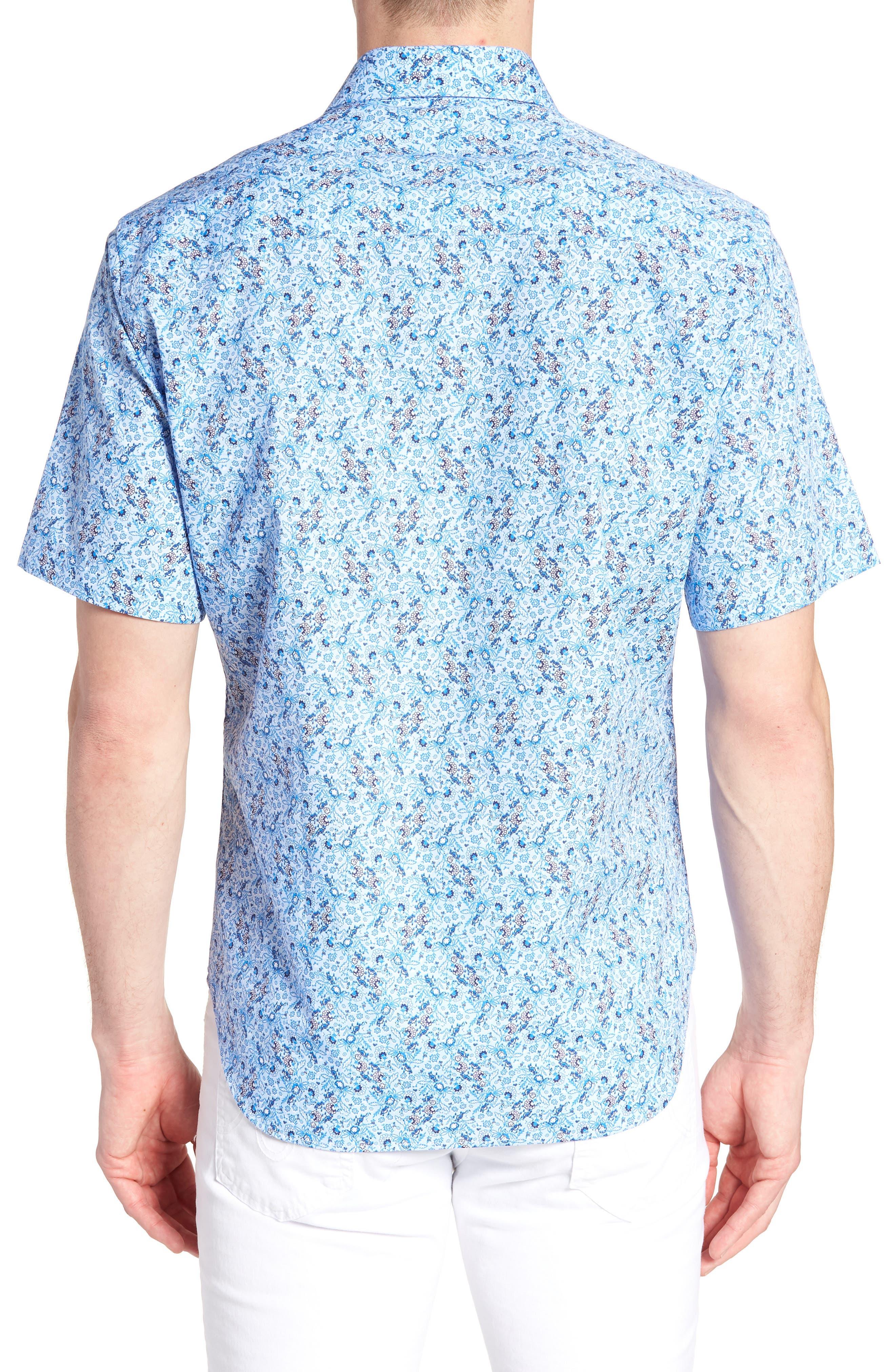 Baer Regular Fit Print Sport Shirt,                             Alternate thumbnail 3, color,                             Blue