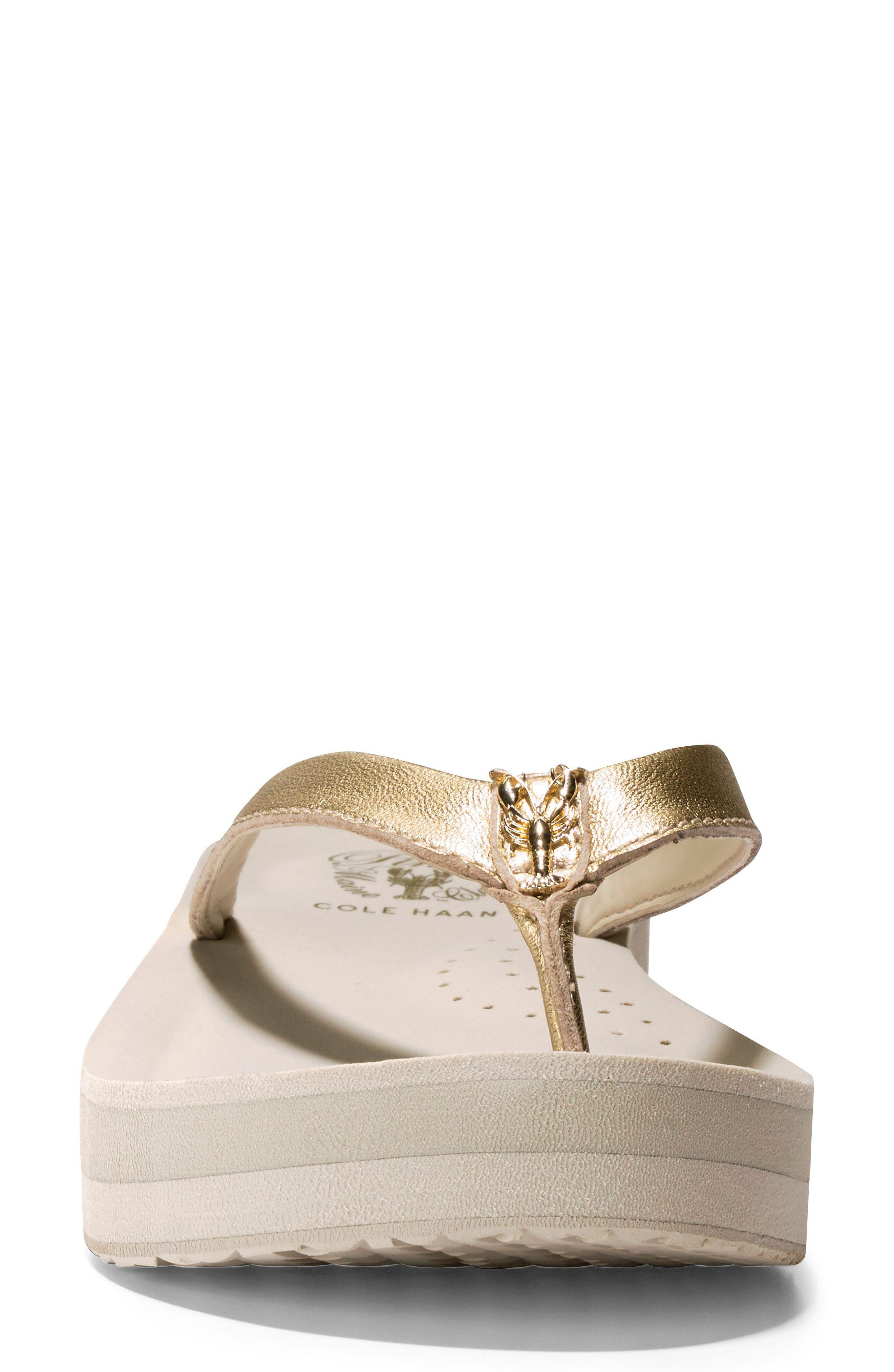 Lobster Wedge Flip Flop,                             Alternate thumbnail 4, color,                             Gold/ Pumice Stone Leather