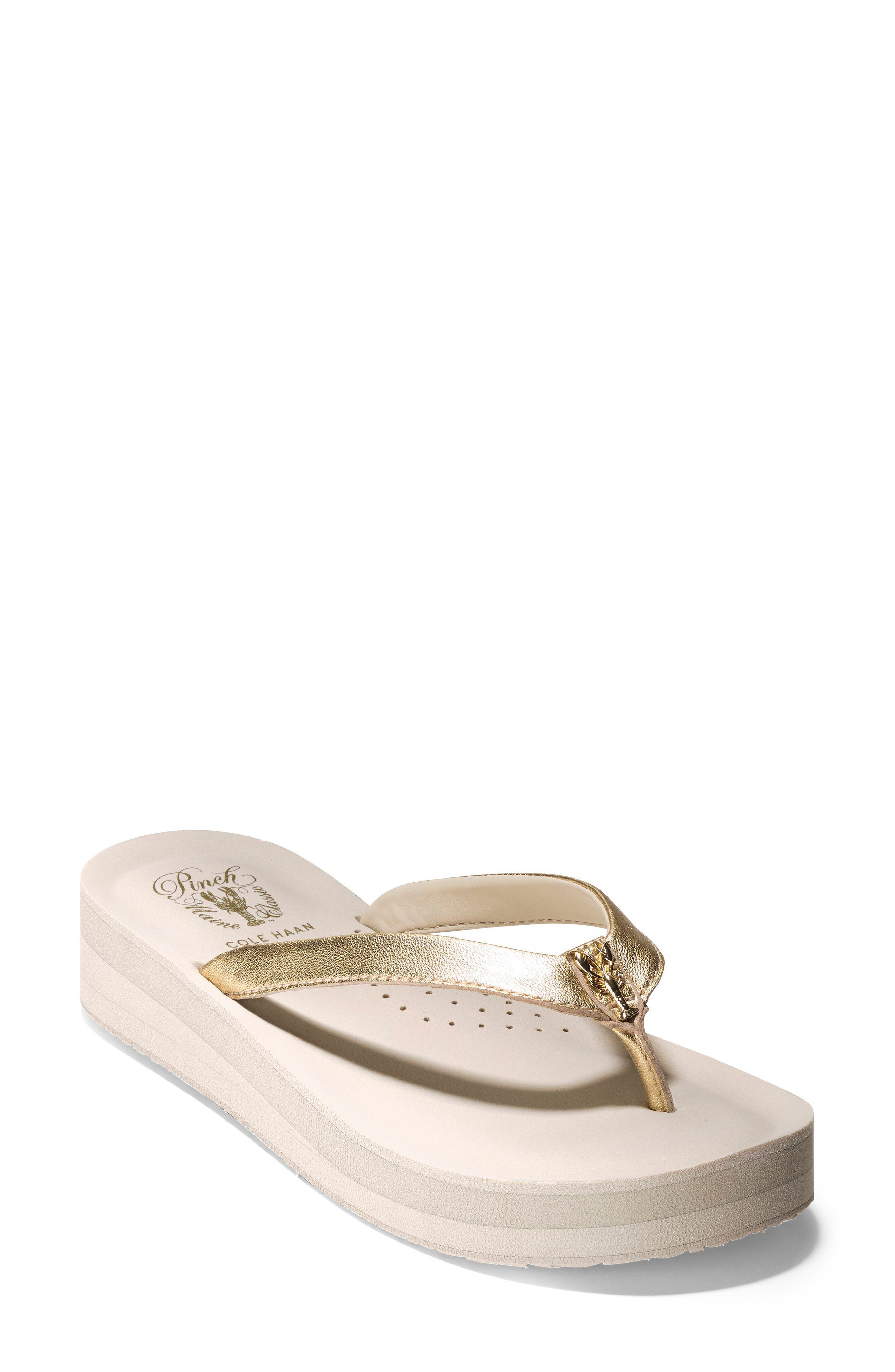 Lobster Wedge Flip Flop,                         Main,                         color, Gold/ Pumice Stone Leather