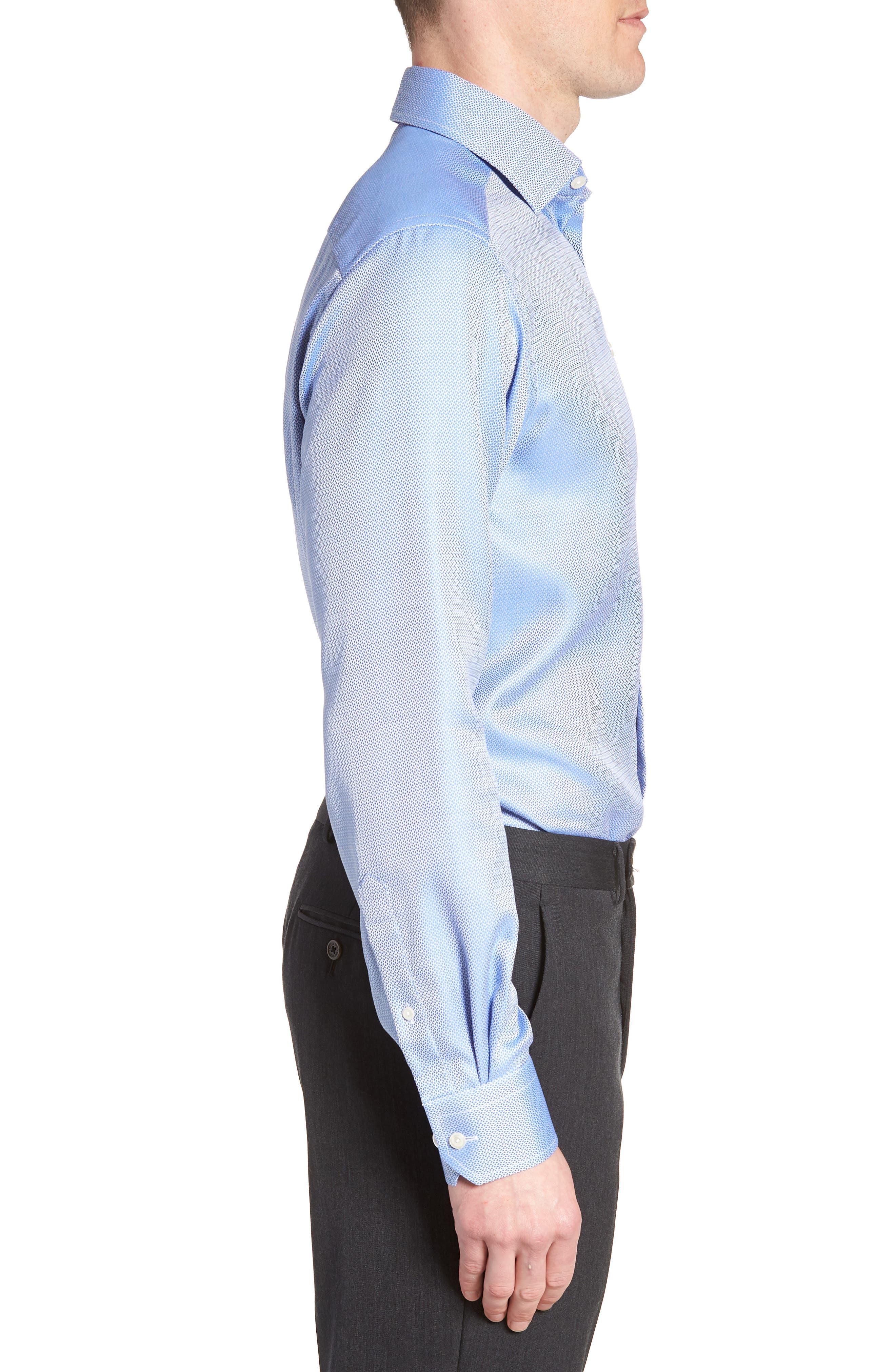 Contemporary Fit Print Dress Shirt,                             Alternate thumbnail 4, color,                             Blue