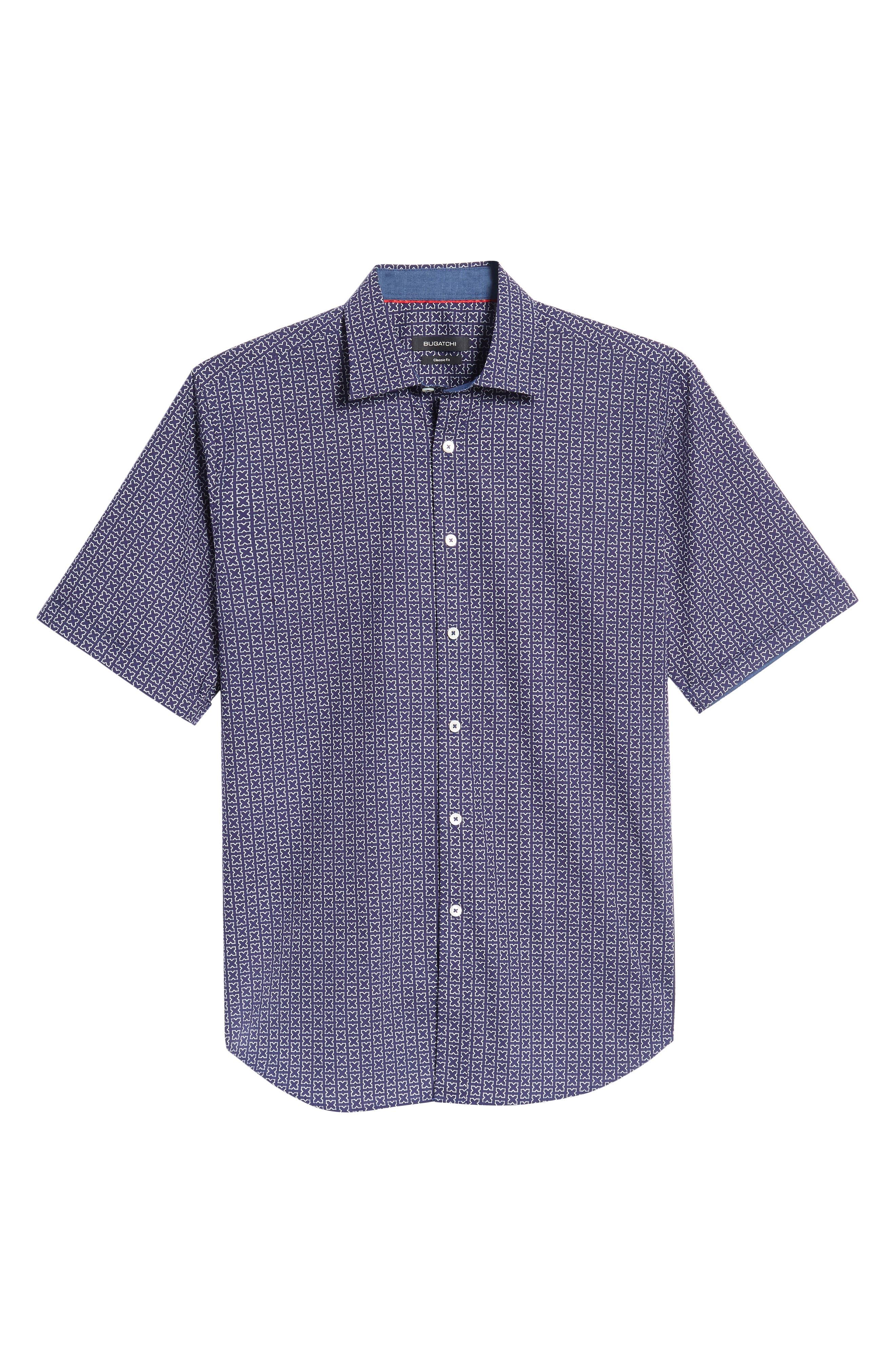 Classic Fit Print Sport Shirt,                             Alternate thumbnail 6, color,                             Navy