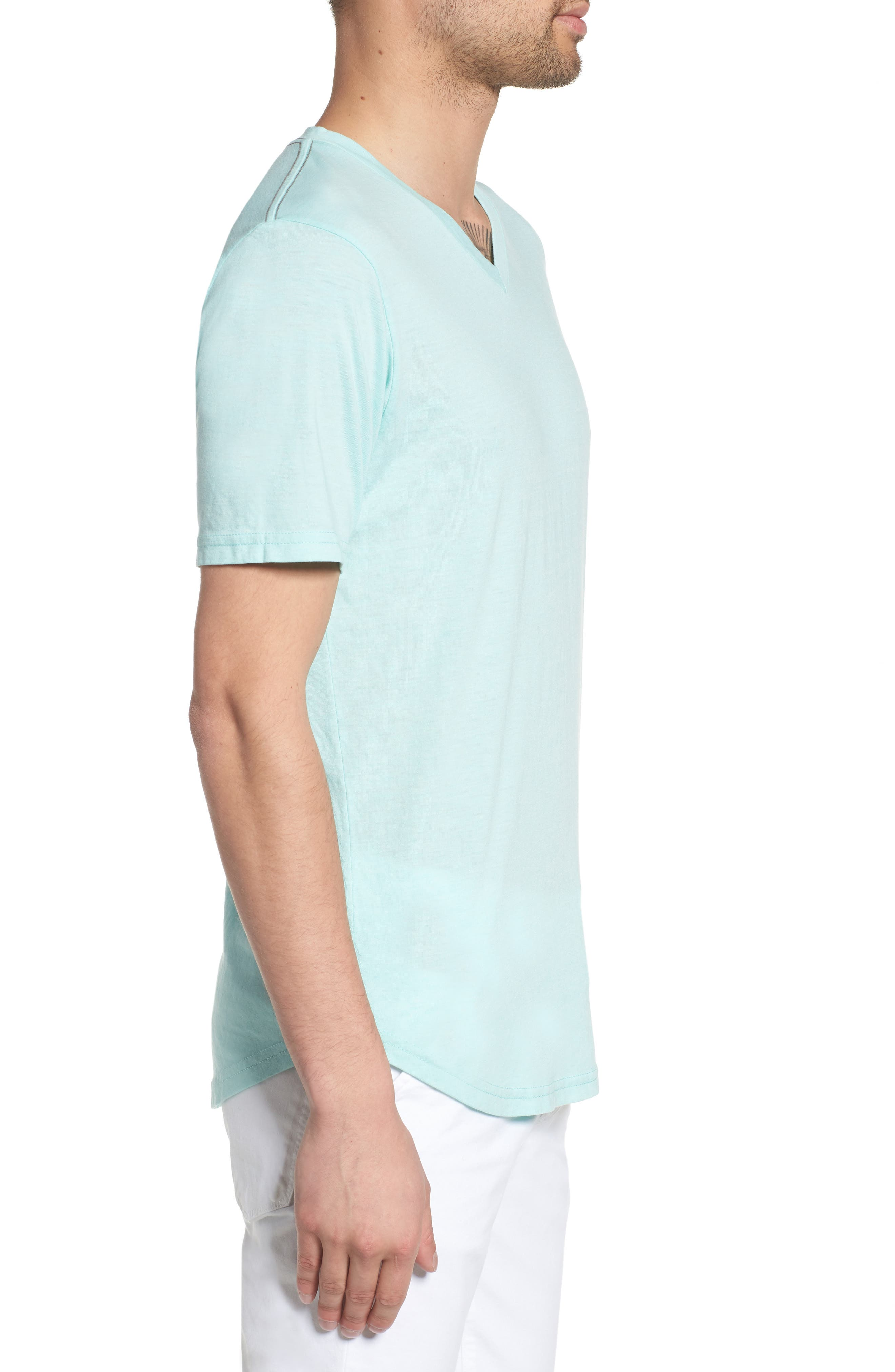 Scallop Triblend V-Neck T-Shirt,                             Alternate thumbnail 3, color,                             Aqua Sky