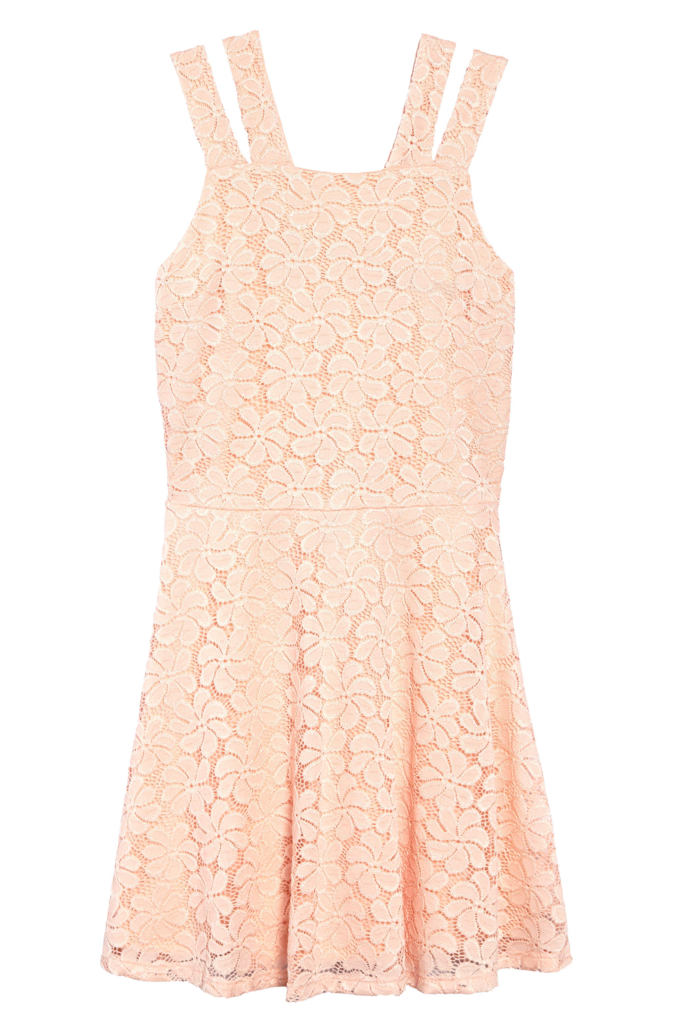 Nancy Lace Dress,                         Main,                         color, Peach