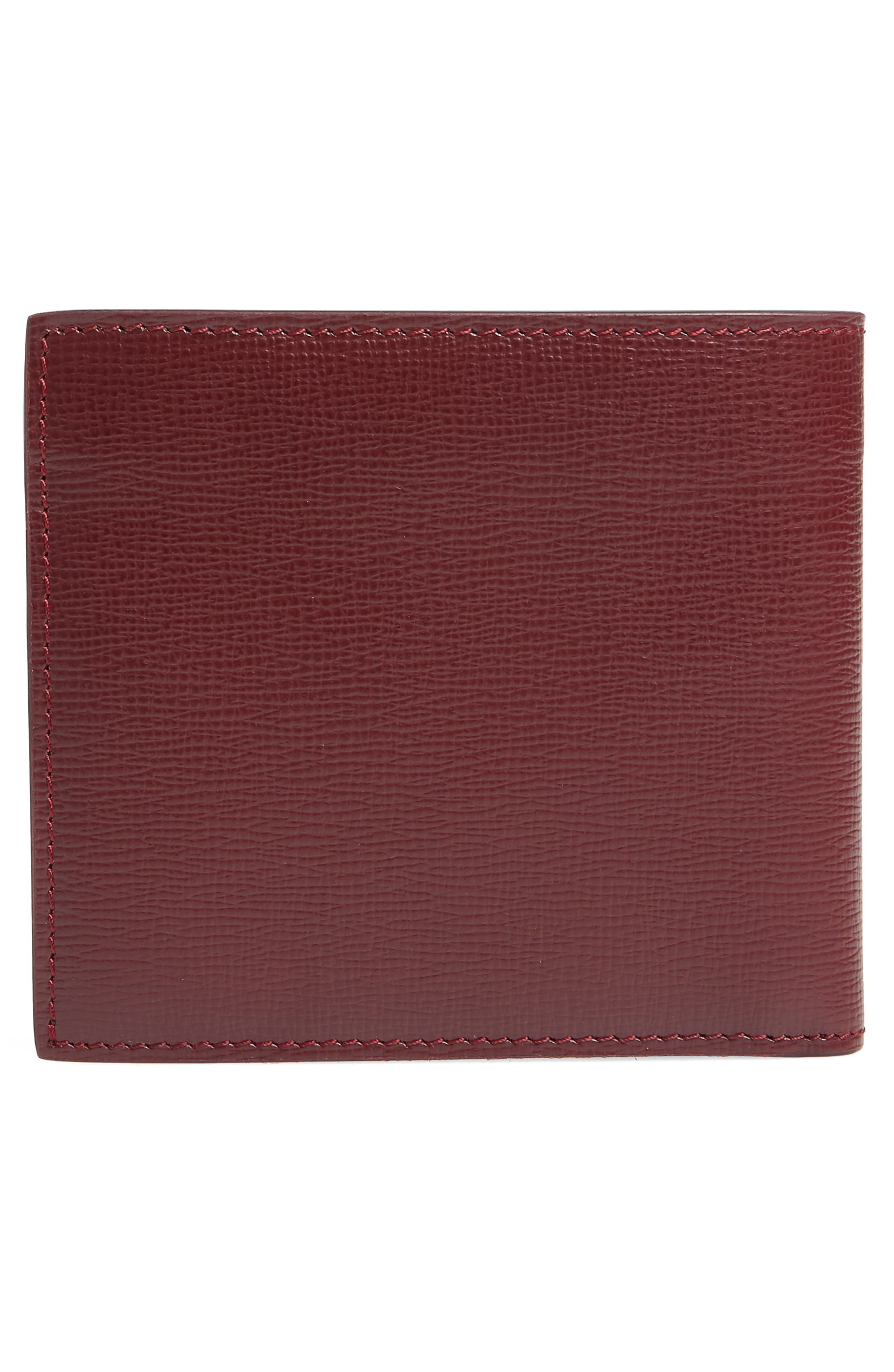Leather Bifold Wallet,                             Alternate thumbnail 3, color,                             Burgundy Red
