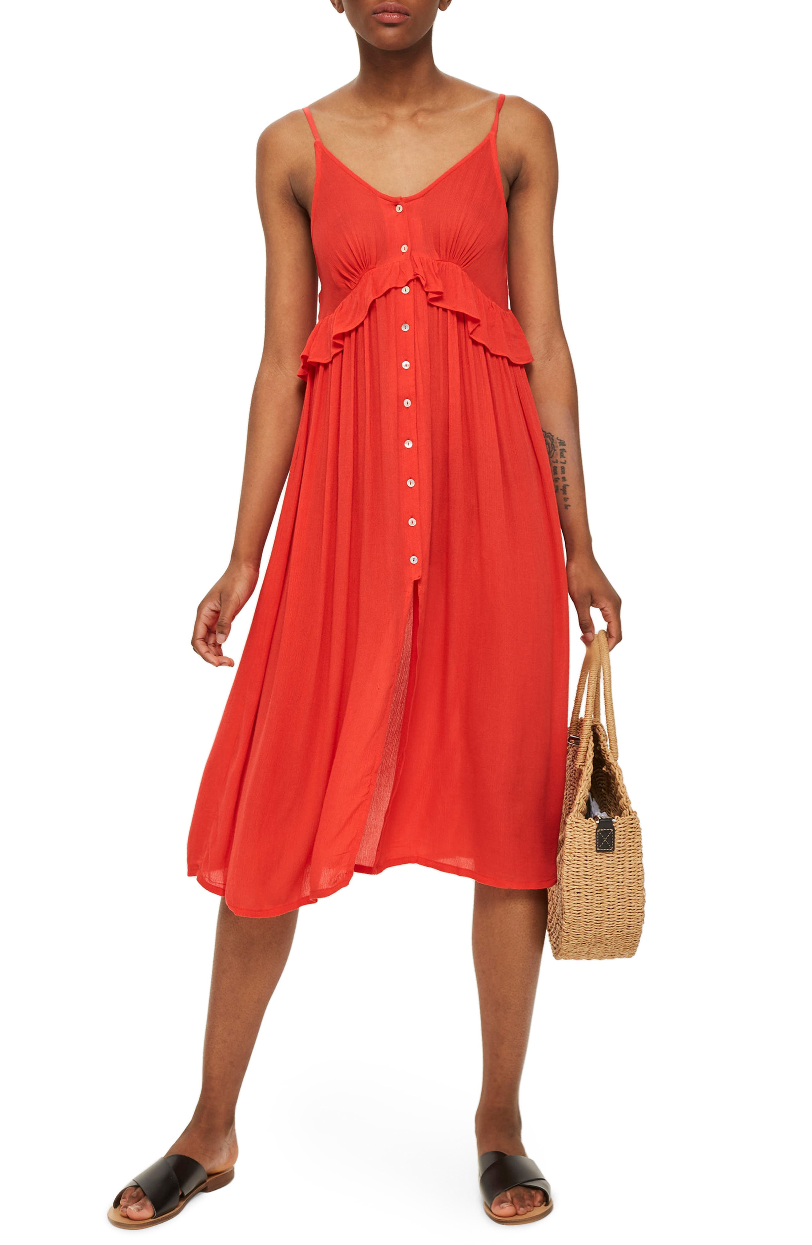 Button-Up Cover-Up Dress,                         Main,                         color, Red