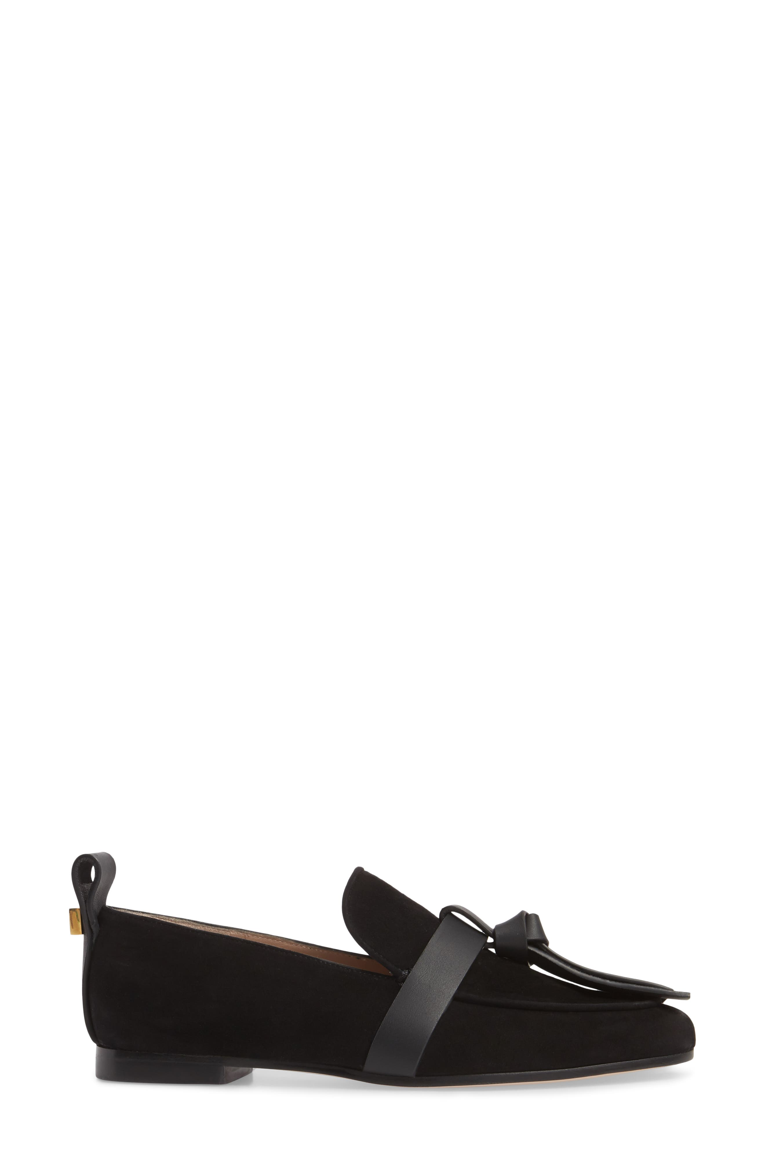 Prescott Knotted Loafer,                             Alternate thumbnail 3, color,                             Black Suede