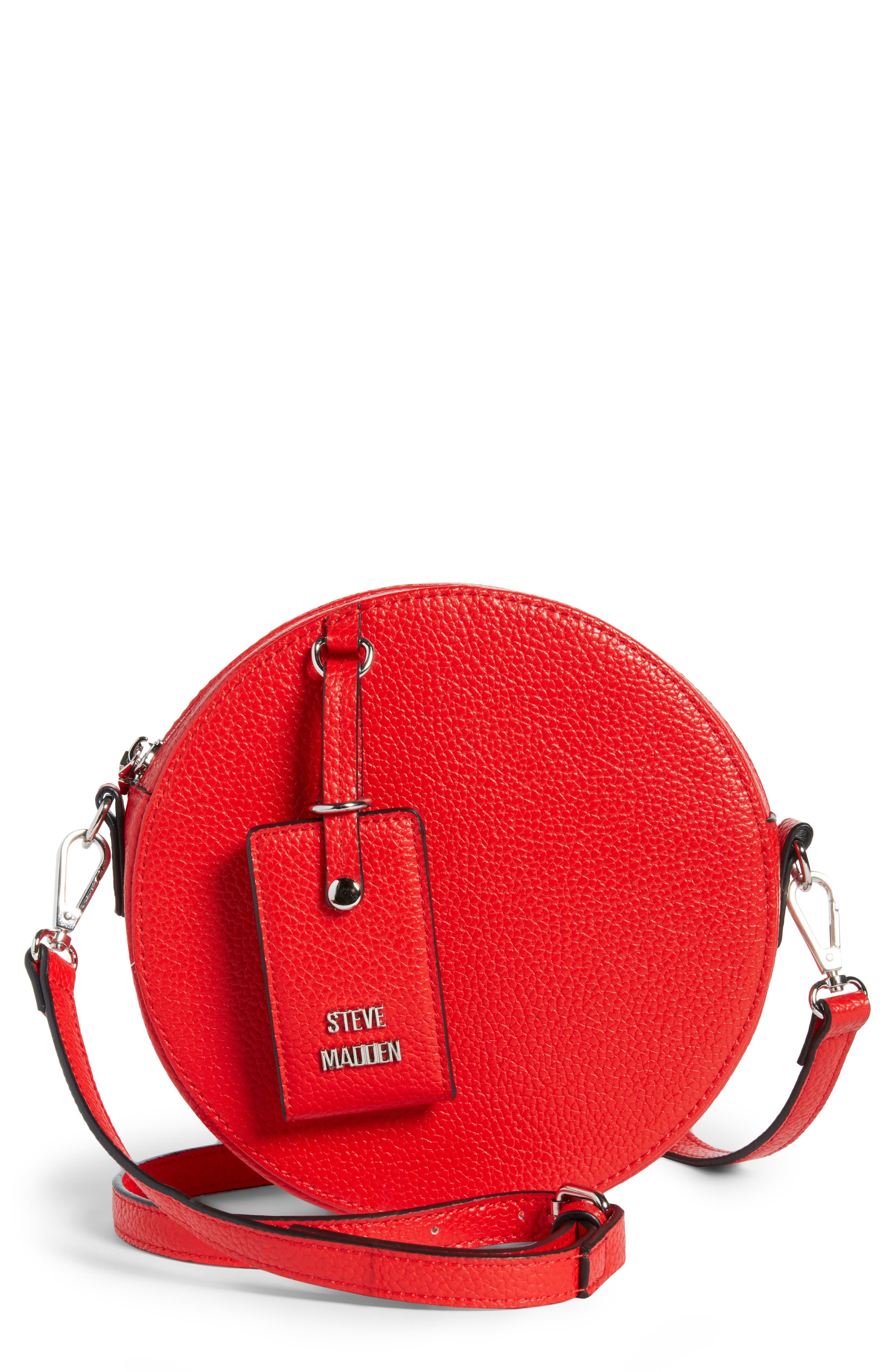 Pebbled Faux Leather Canteen Bag,                         Main,                         color, Red