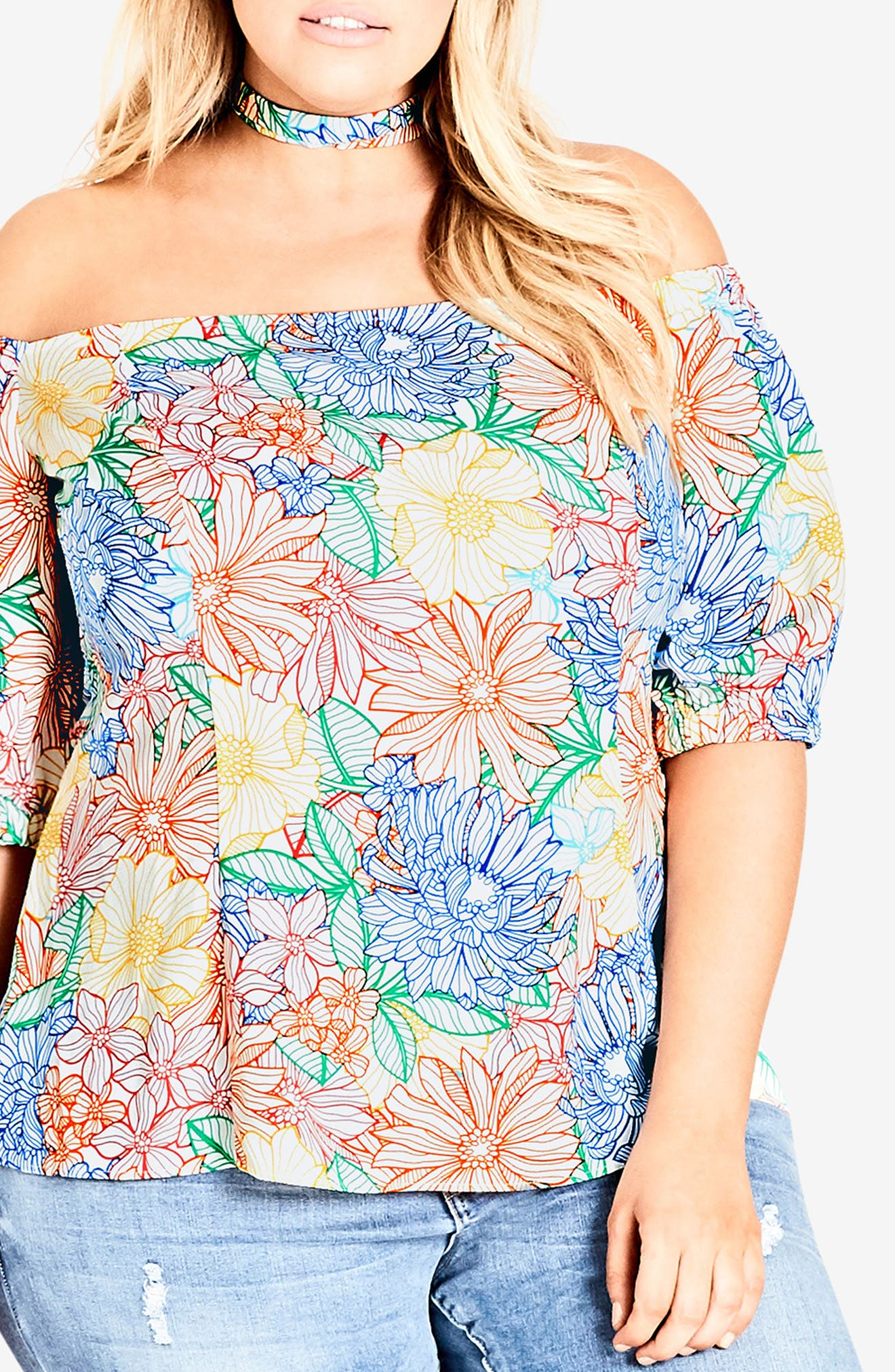 Etched Bloom Top with Choker,                             Alternate thumbnail 3, color,                             Etched Bloom