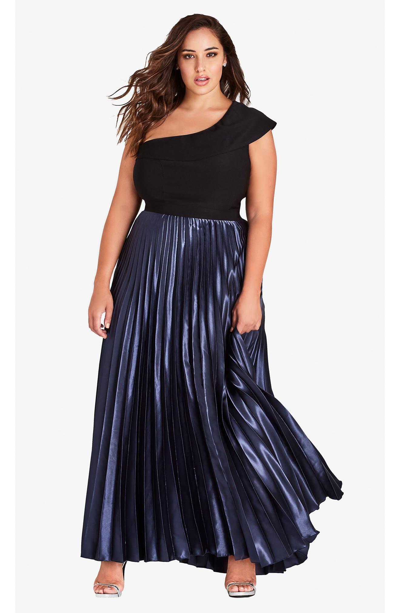 Rosa One Shoulder Pleat Maxi Dress,                             Alternate thumbnail 3, color,                             Smoke