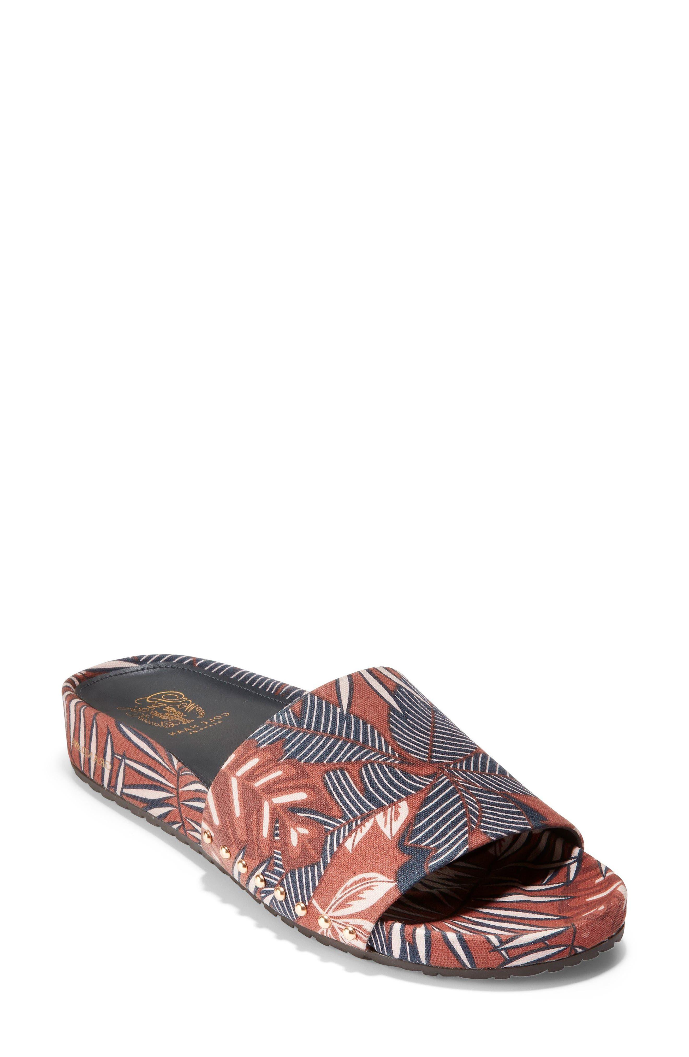 Pinch Montauk Print Slide Sandal,                         Main,                         color, Tropical Palm Print Fabric
