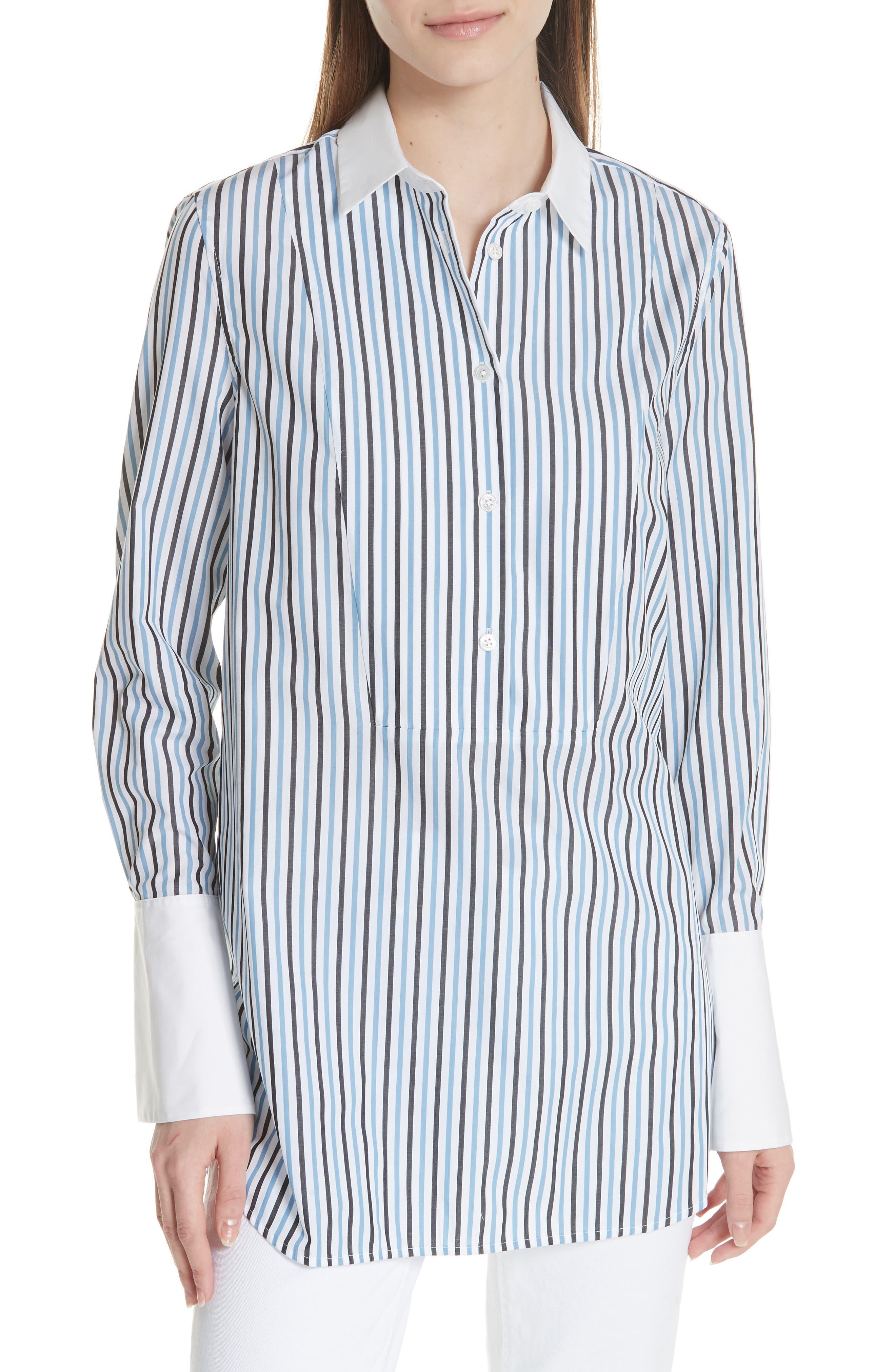 Arlette Tuxedo Cotton Blouse,                         Main,                         color, Bright White/ Moroccan Blue