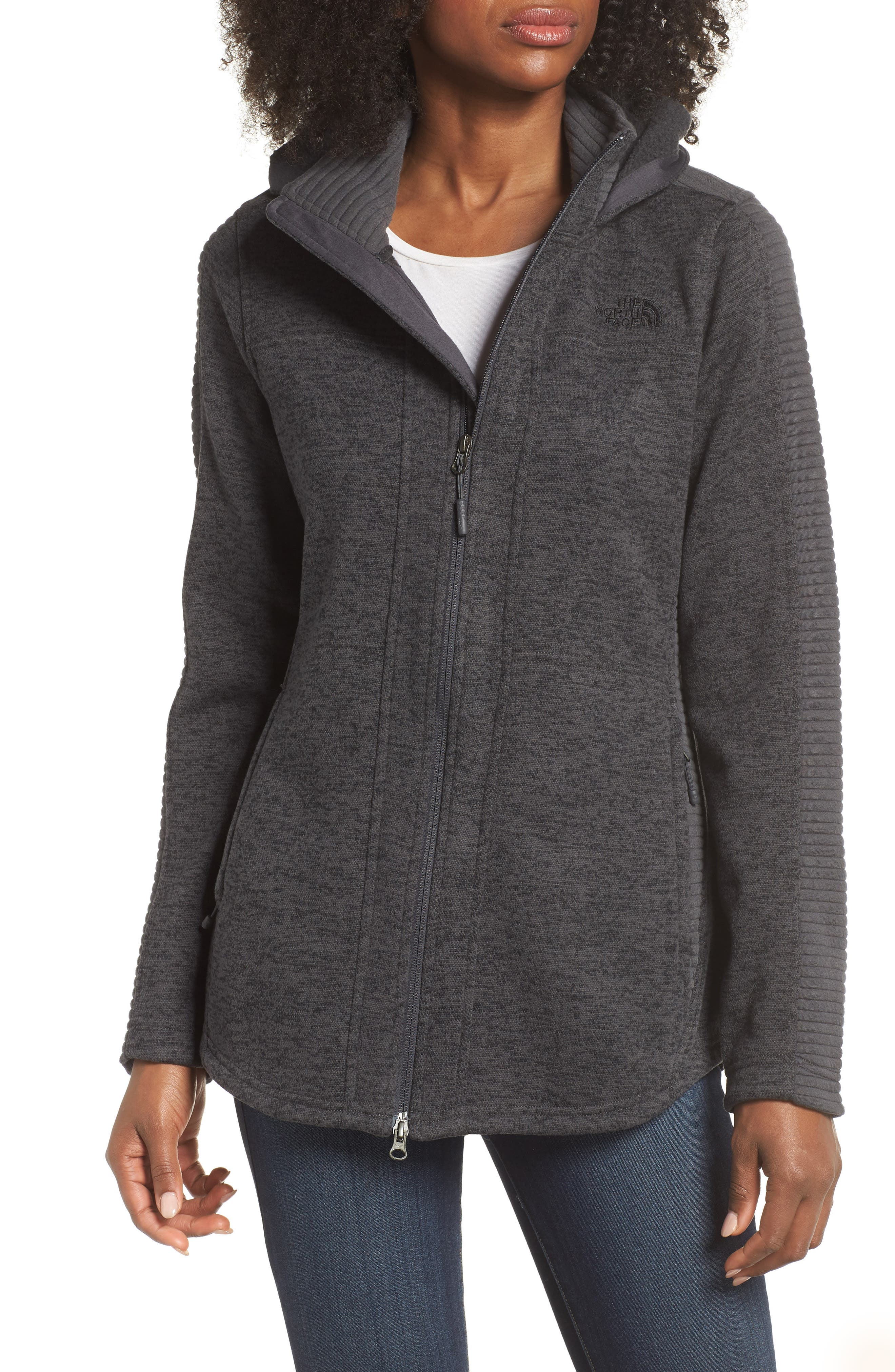 Indi 2 Hooded Knit Parka,                         Main,                         color, Dark Grey Heather