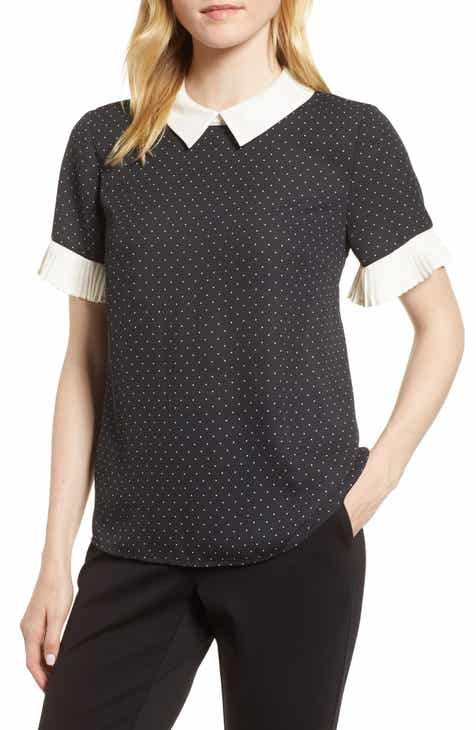 e214005a8bd CeCe Pleat Sleeve Polka Dot Blouse